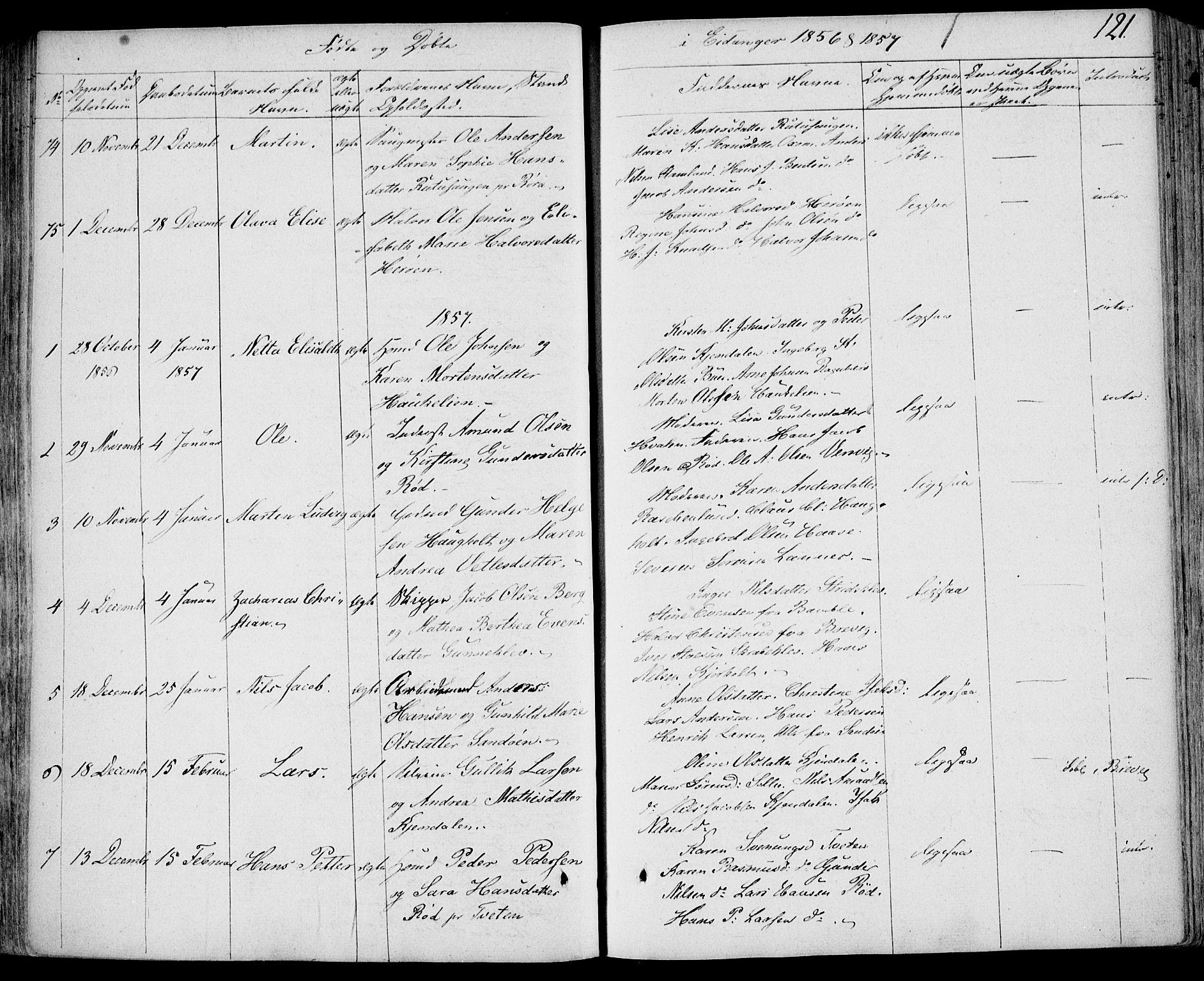 SAKO, Eidanger kirkebøker, F/Fa/L0008: Ministerialbok nr. 8, 1831-1858, s. 121