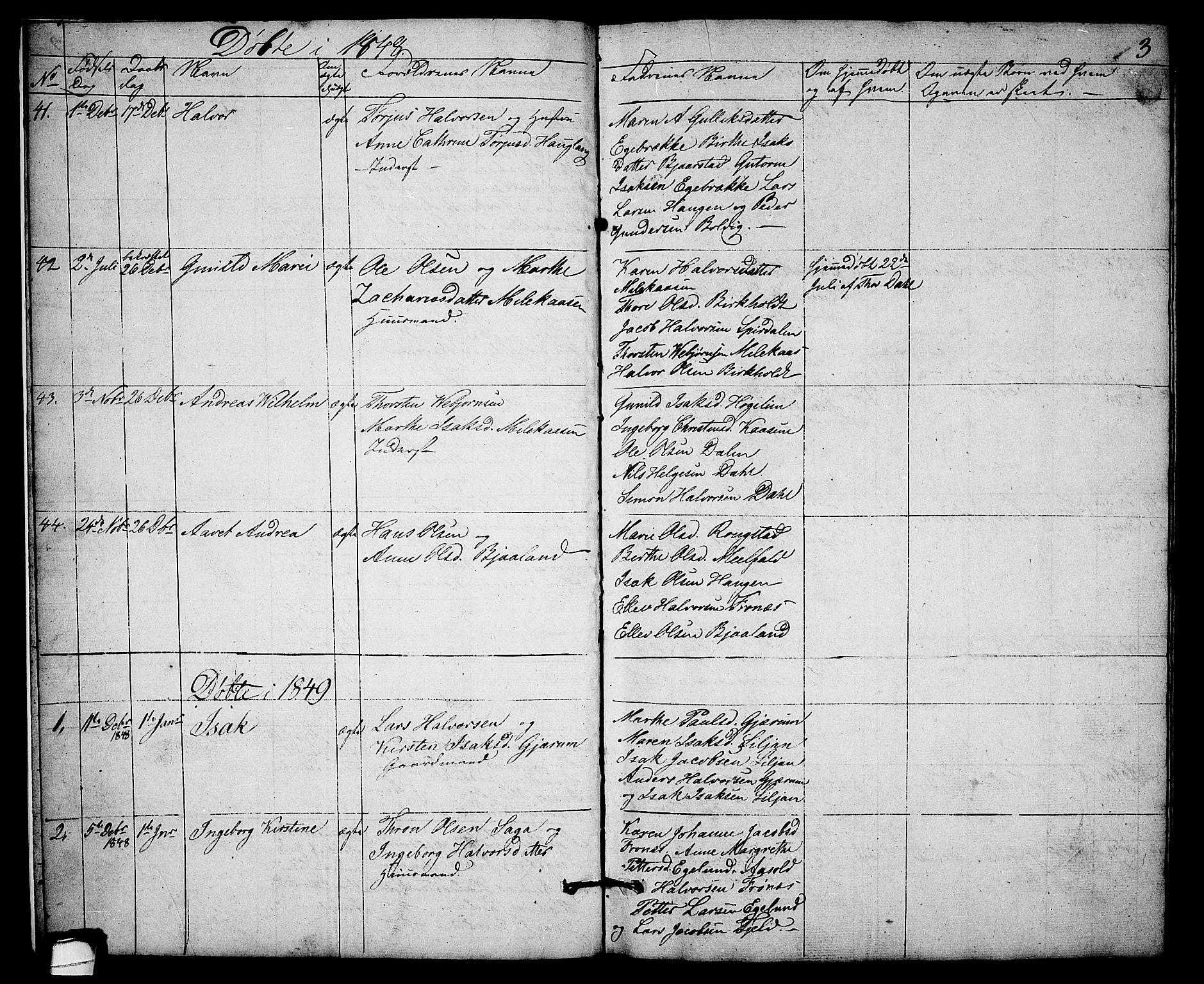 SAKO, Solum kirkebøker, G/Gb/L0001: Klokkerbok nr. II 1, 1848-1859, s. 3