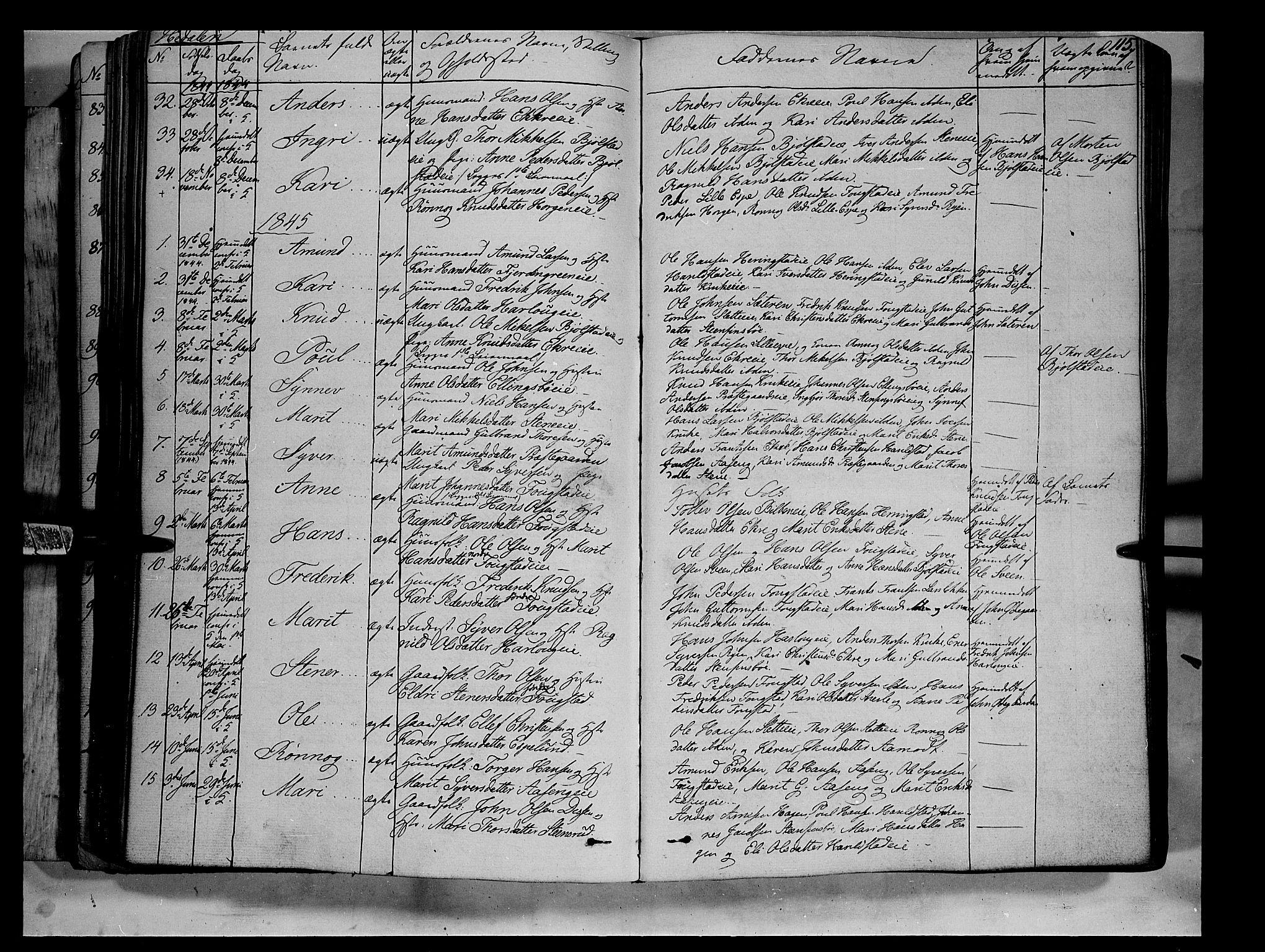 SAH, Vågå prestekontor, Ministerialbok nr. 5 /2, 1842-1856, s. 115