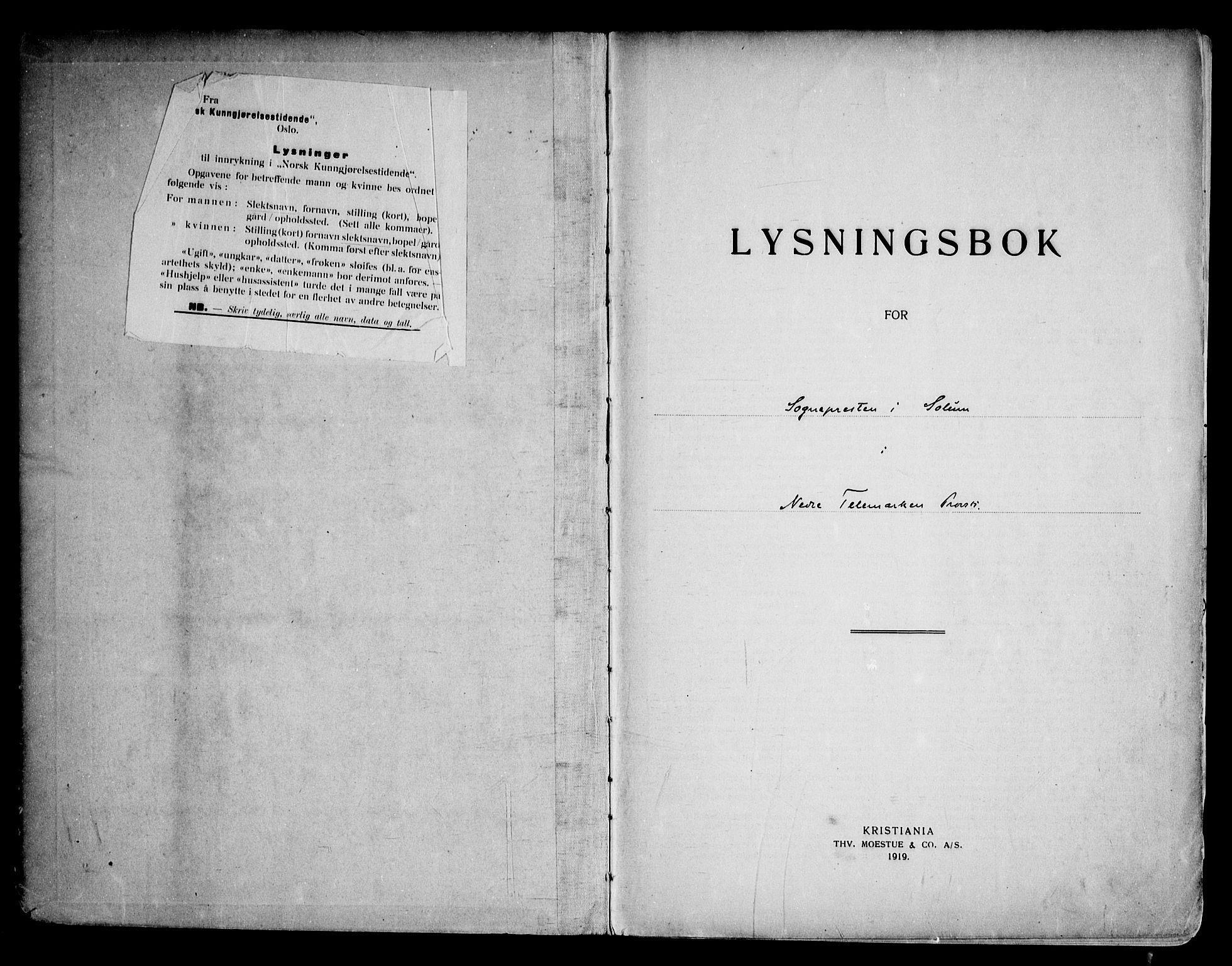 SAKO, Solum kirkebøker, H/Ha/L0002: Lysningsprotokoll nr. I 2, 1919-1946