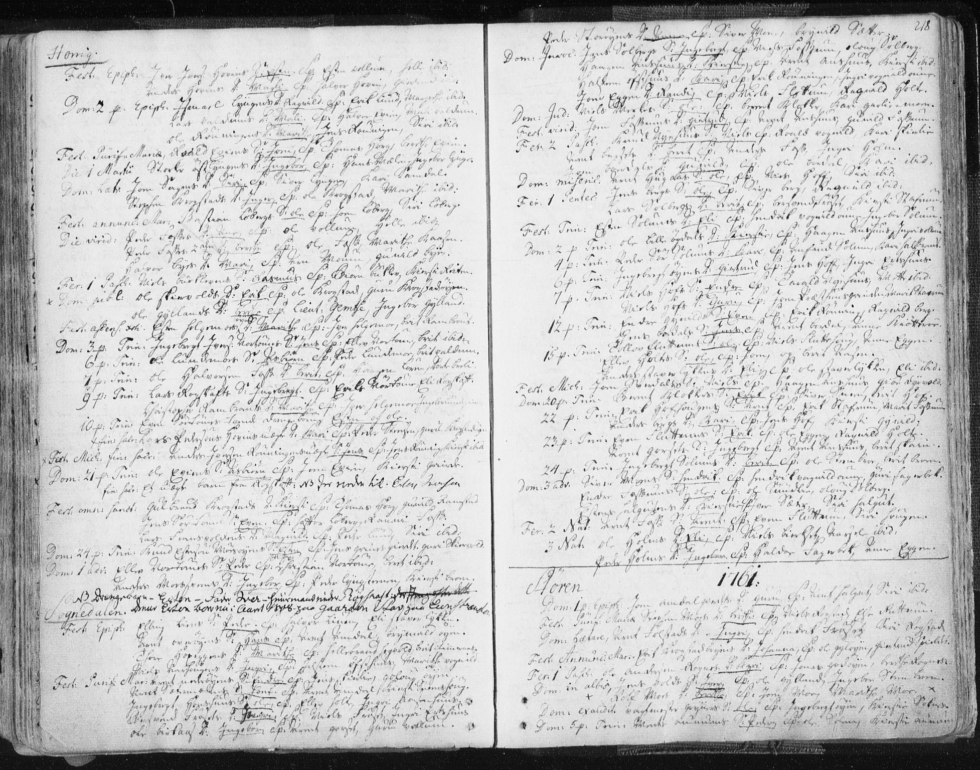 SAT, Ministerialprotokoller, klokkerbøker og fødselsregistre - Sør-Trøndelag, 687/L0991: Ministerialbok nr. 687A02, 1747-1790, s. 218