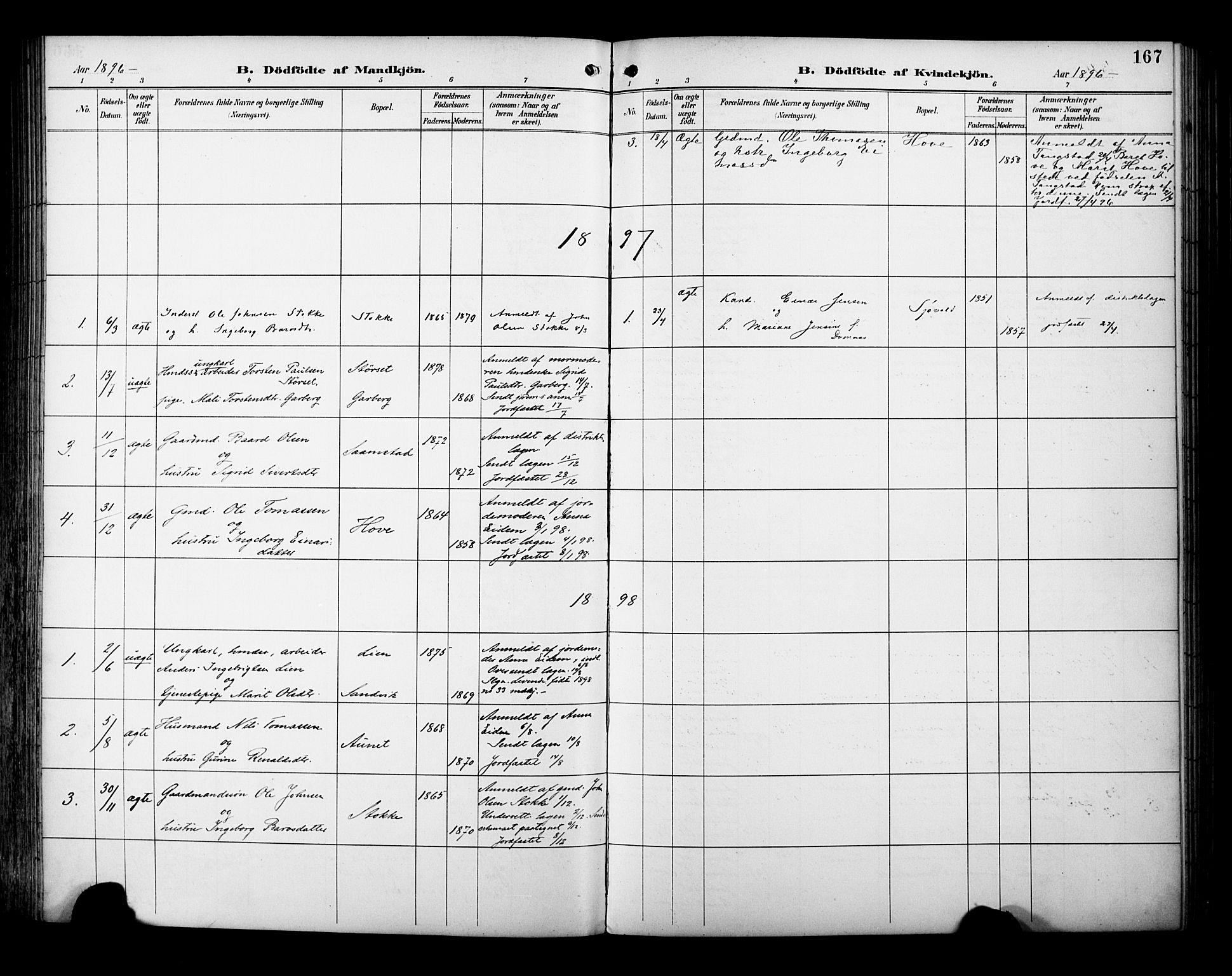 SAT, Ministerialprotokoller, klokkerbøker og fødselsregistre - Sør-Trøndelag, 695/L1149: Ministerialbok nr. 695A09, 1891-1902, s. 167