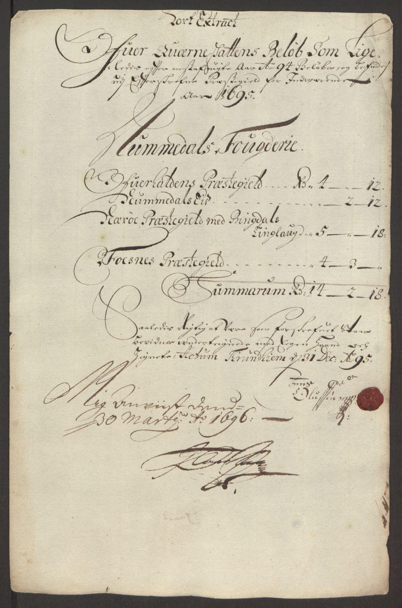 RA, Rentekammeret inntil 1814, Reviderte regnskaper, Fogderegnskap, R64/L4424: Fogderegnskap Namdal, 1692-1695, s. 462