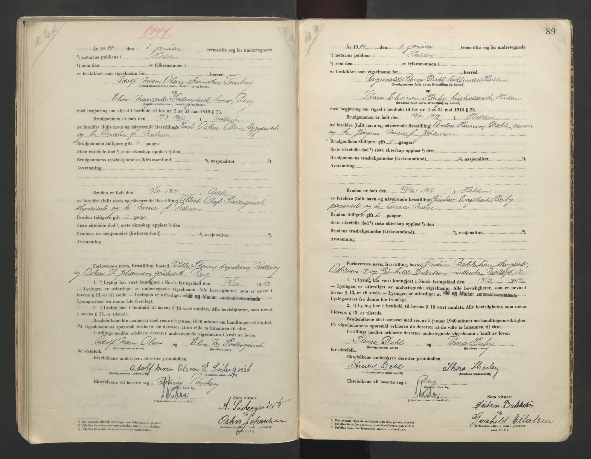 SAO, Idd og Marker sorenskriveri, L/Lc/L0001: Vigselsbøker, 1942-1944, s. 89