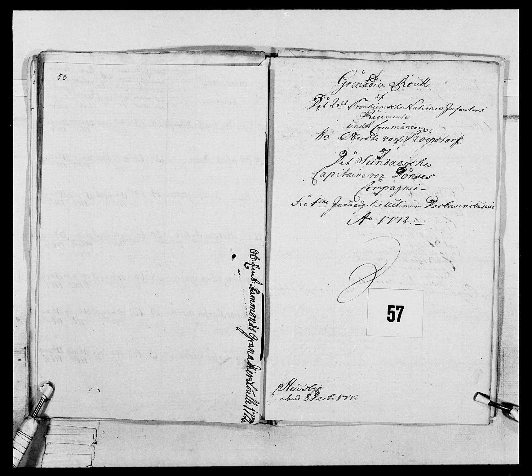 RA, Generalitets- og kommissariatskollegiet, Det kongelige norske kommissariatskollegium, E/Eh/L0076: 2. Trondheimske nasjonale infanteriregiment, 1766-1773, s. 195