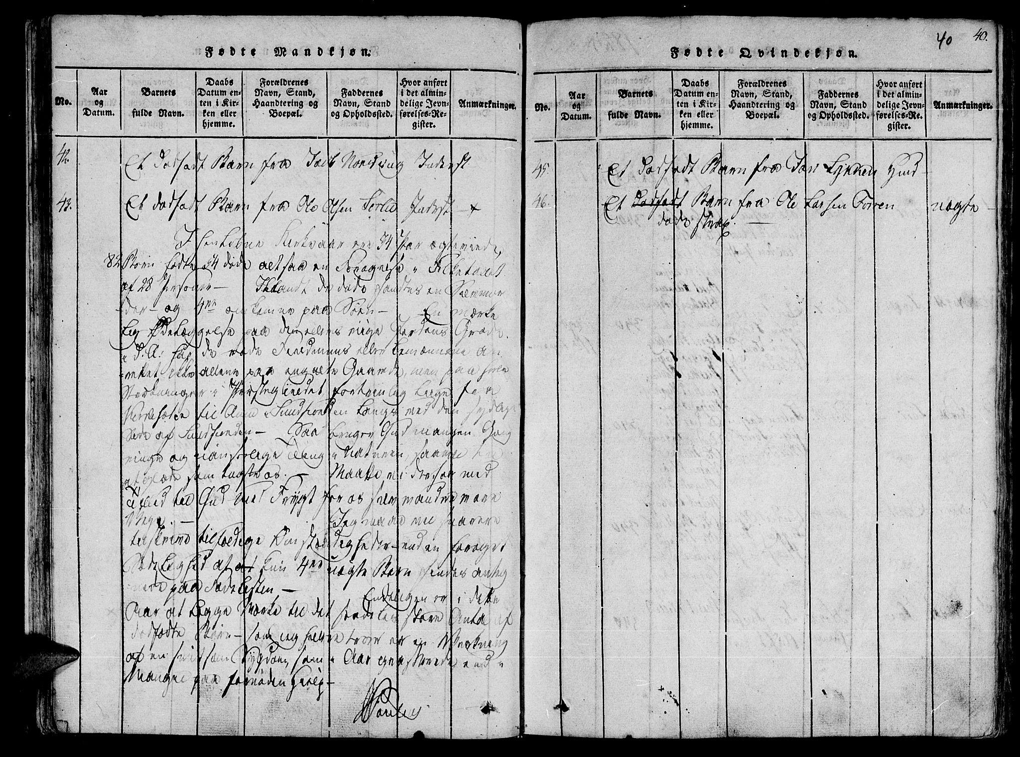 SAT, Ministerialprotokoller, klokkerbøker og fødselsregistre - Sør-Trøndelag, 630/L0491: Ministerialbok nr. 630A04, 1818-1830, s. 40