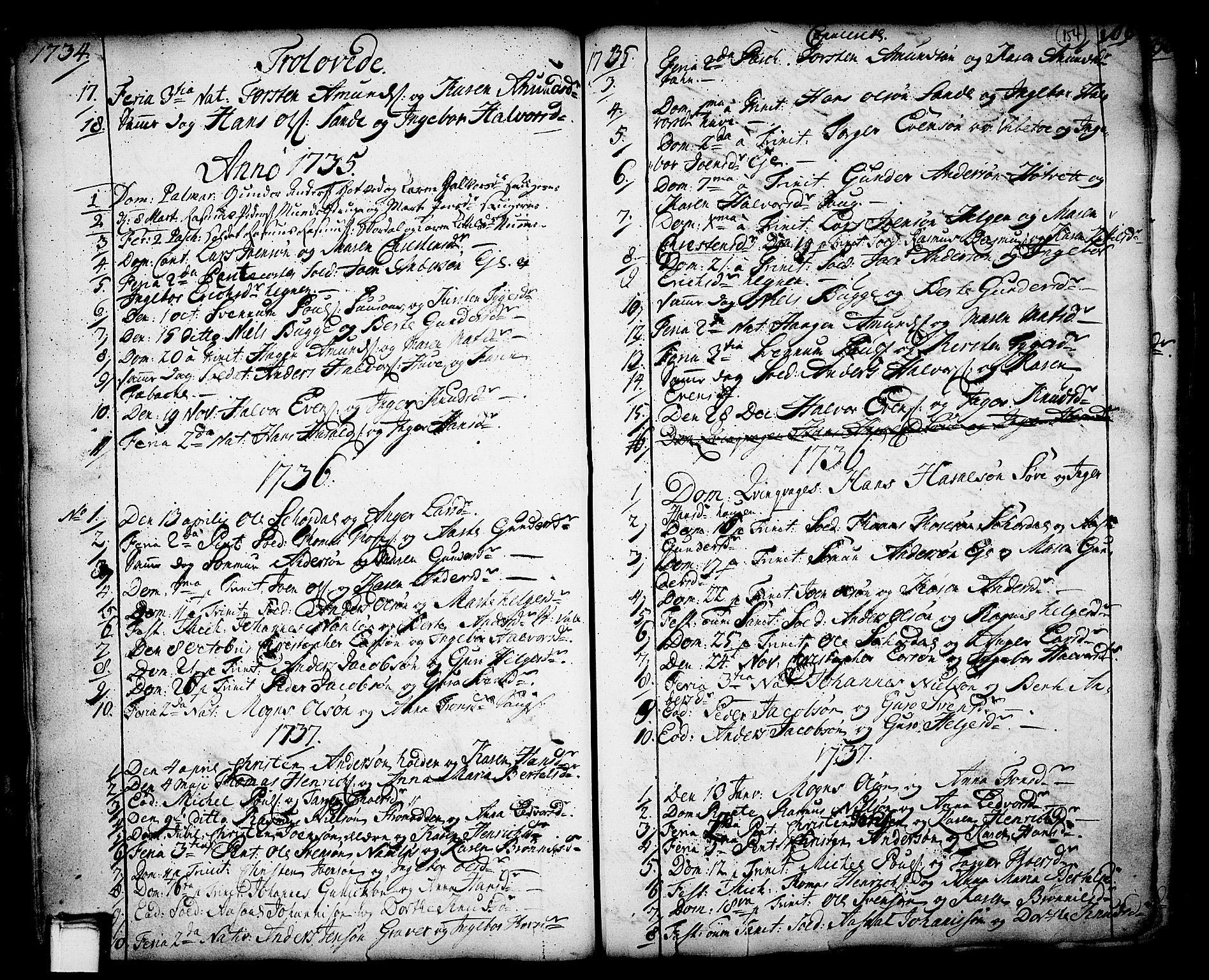 SAKO, Holla kirkebøker, F/Fa/L0001: Ministerialbok nr. 1, 1717-1779, s. 154