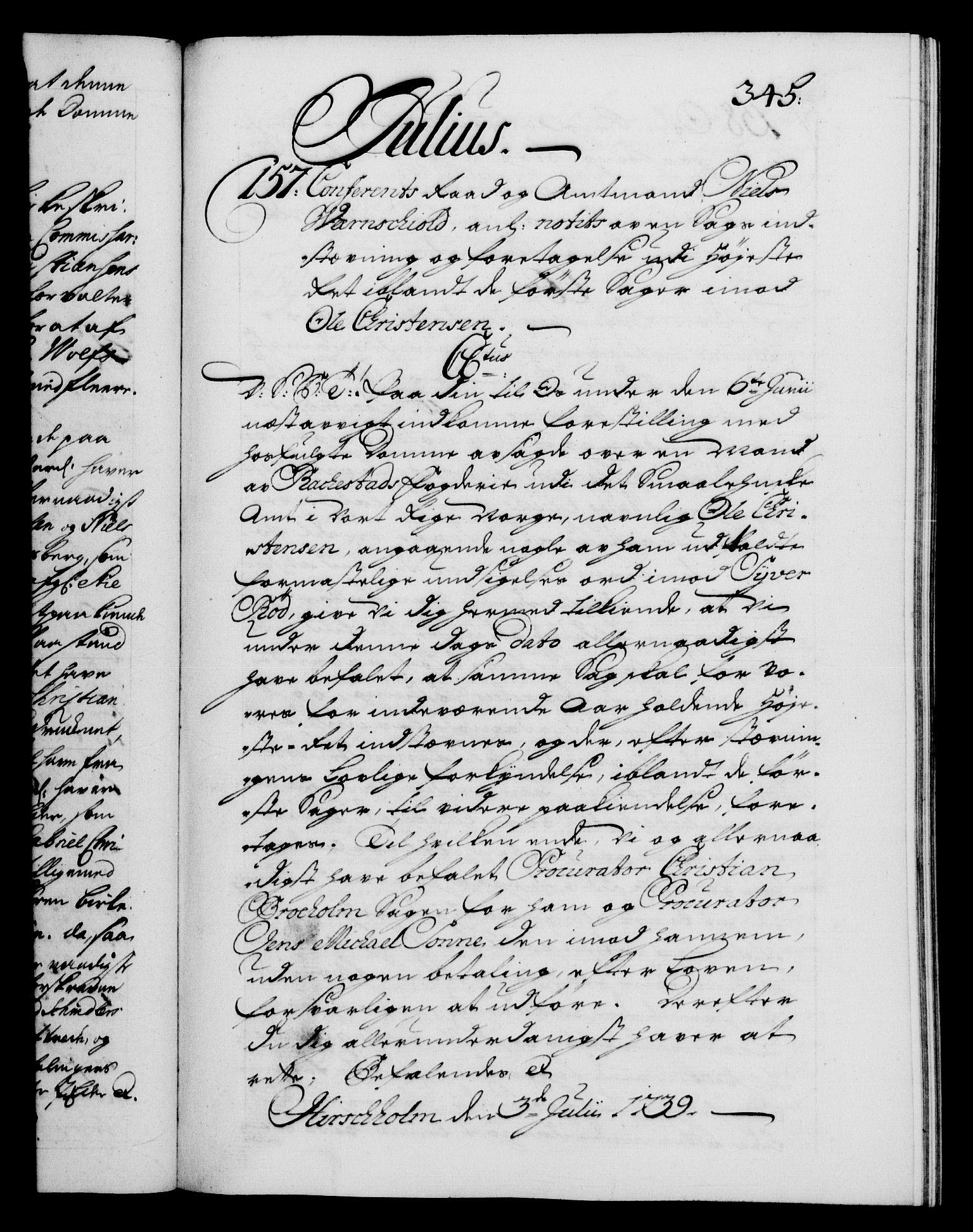 RA, Danske Kanselli 1572-1799, F/Fc/Fca/Fcab/L0028: Norske tegnelser, 1738-1740, s. 345a