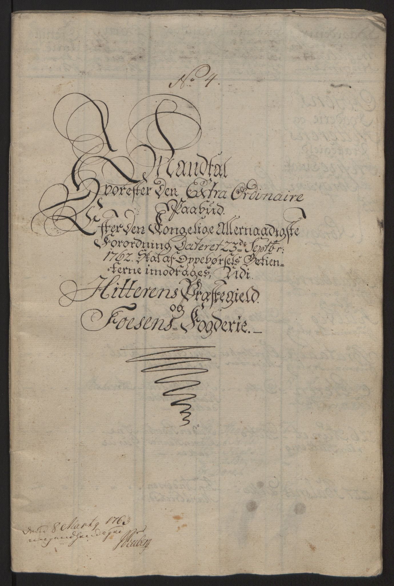 RA, Rentekammeret inntil 1814, Reviderte regnskaper, Fogderegnskap, R57/L3930: Ekstraskatten Fosen, 1762-1763, s. 368