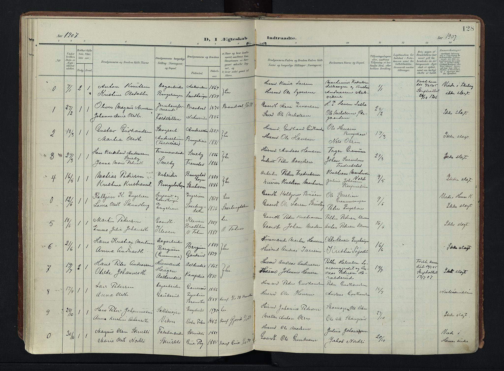 SAH, Søndre Land prestekontor, K/L0007: Ministerialbok nr. 7, 1905-1914, s. 128