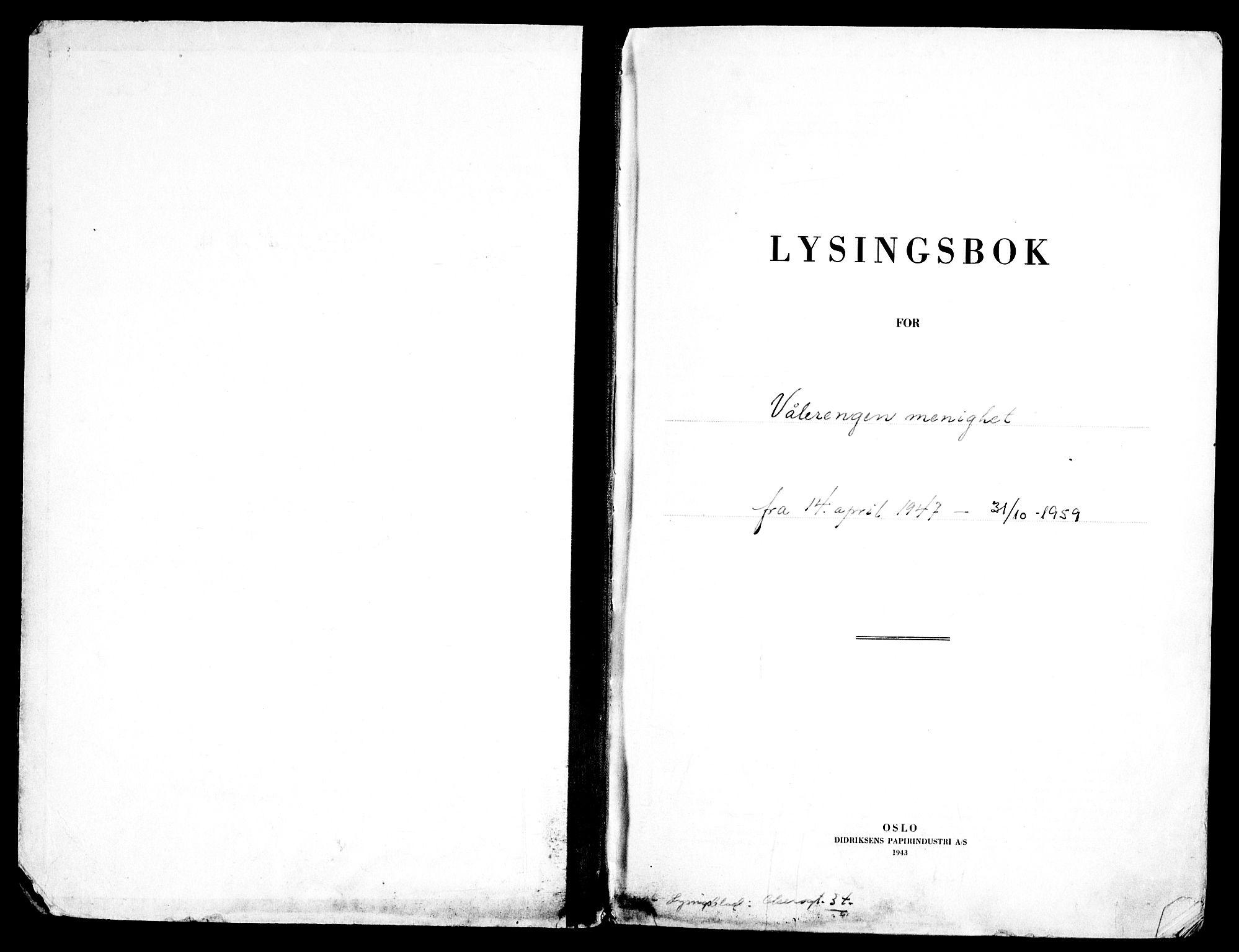 SAO, Vålerengen prestekontor Kirkebøker, H/Ha/L0005: Lysningsprotokoll nr. 5, 1947-1959