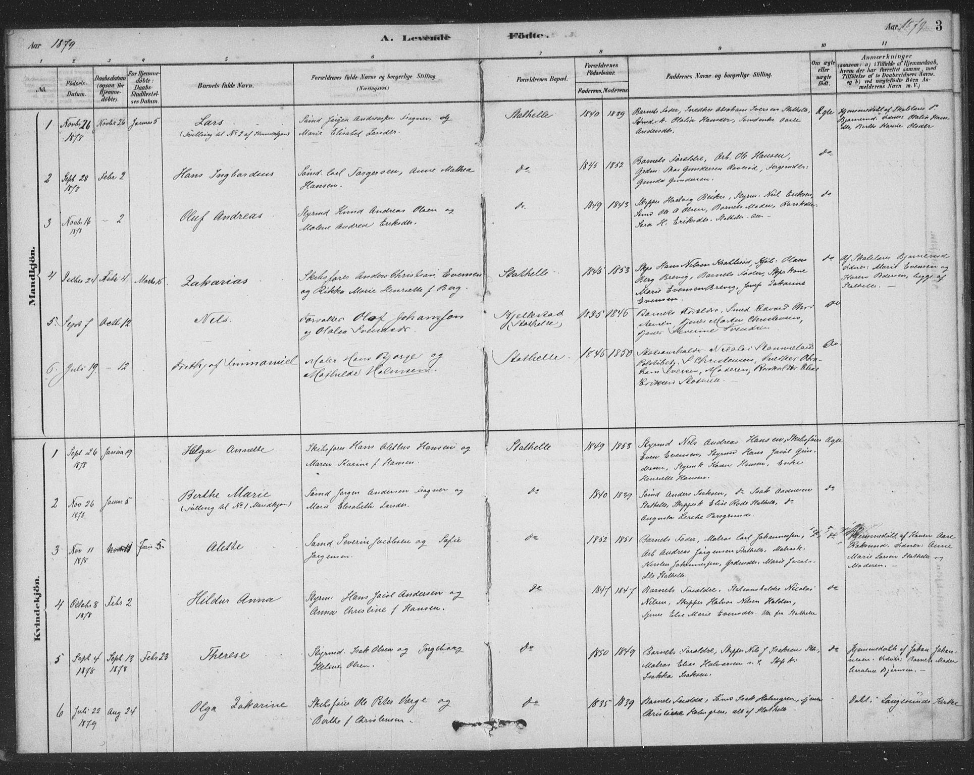 SAKO, Bamble kirkebøker, F/Fb/L0001: Ministerialbok nr. II 1, 1878-1899, s. 3