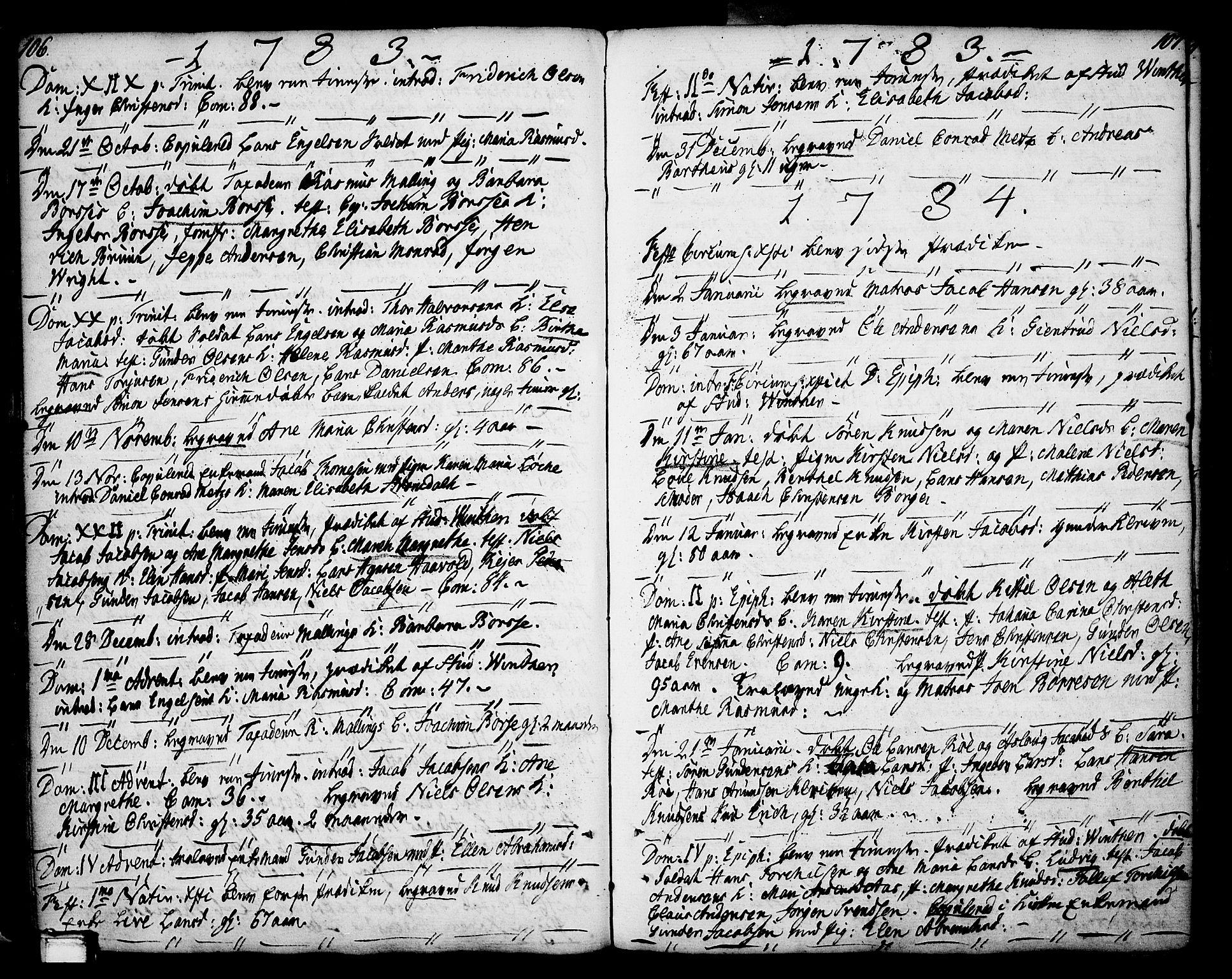 SAKO, Porsgrunn kirkebøker , F/Fa/L0002: Ministerialbok nr. 2, 1764-1814, s. 106-107