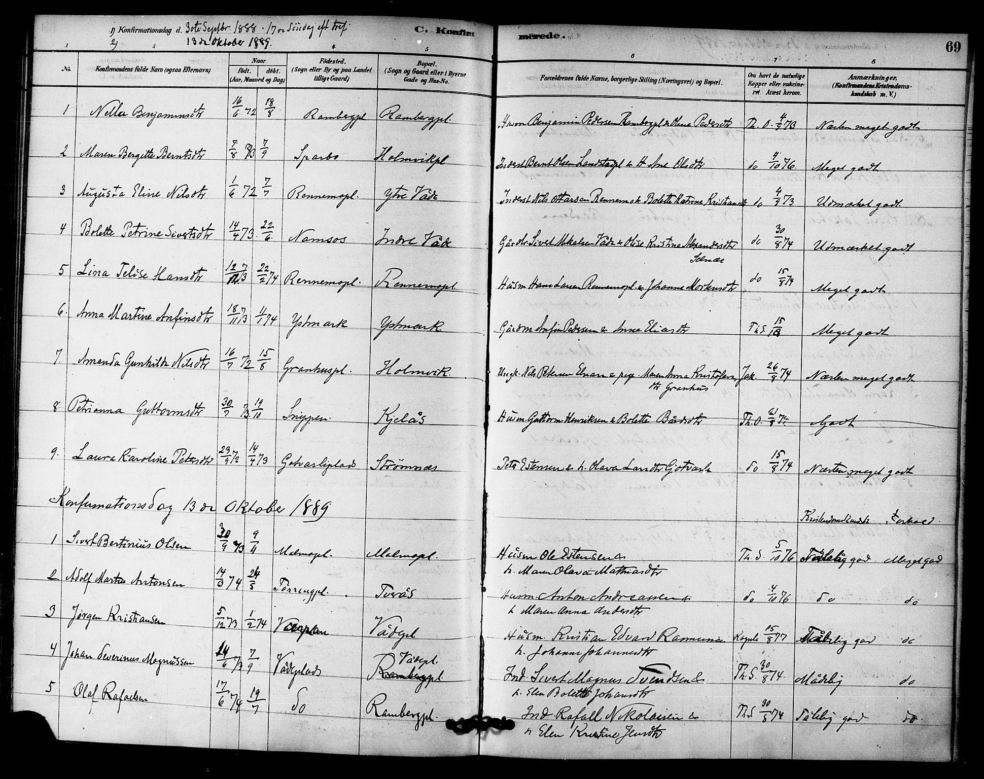 SAT, Ministerialprotokoller, klokkerbøker og fødselsregistre - Nord-Trøndelag, 745/L0429: Ministerialbok nr. 745A01, 1878-1894, s. 69