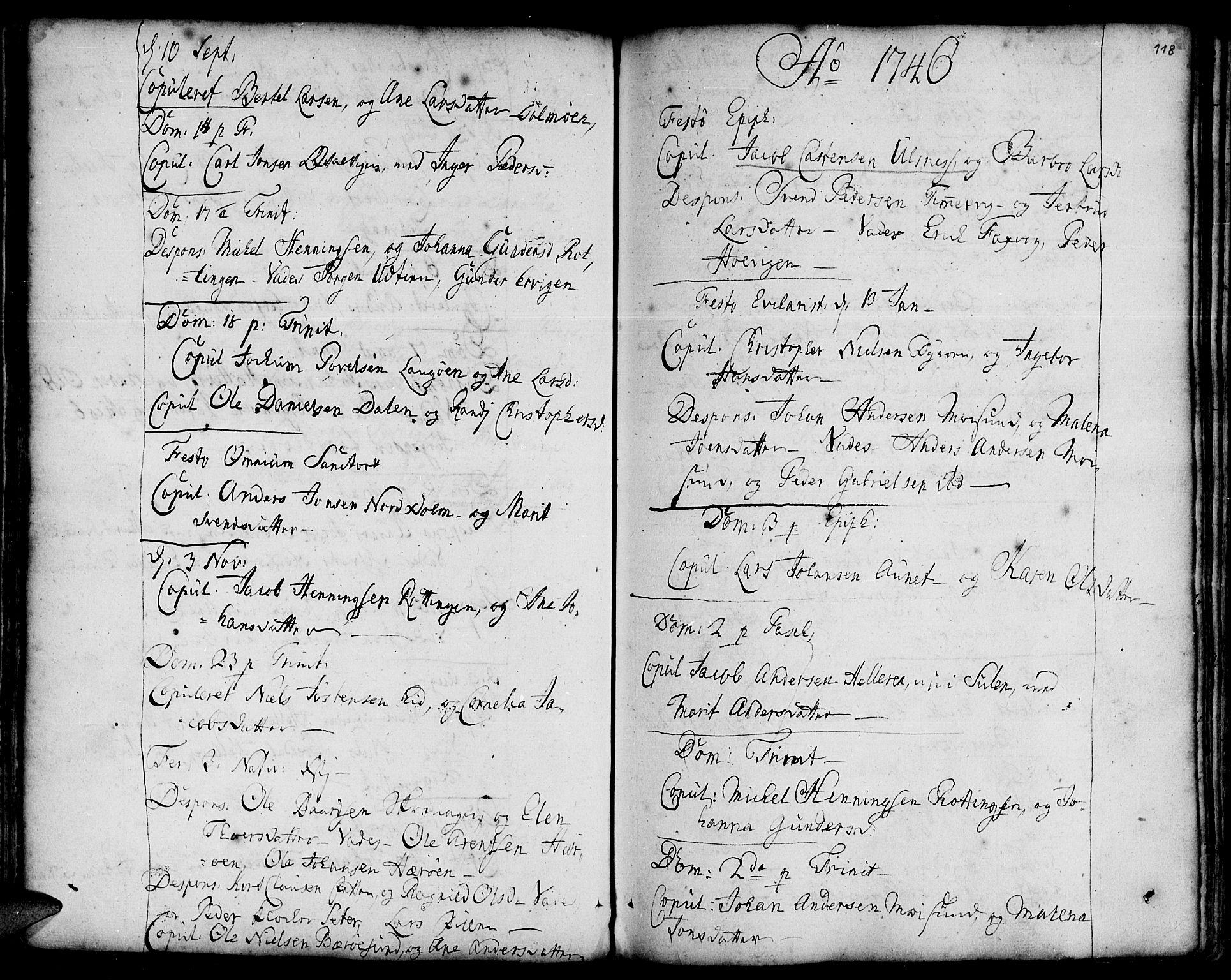 SAT, Ministerialprotokoller, klokkerbøker og fødselsregistre - Sør-Trøndelag, 634/L0525: Ministerialbok nr. 634A01, 1736-1775, s. 118