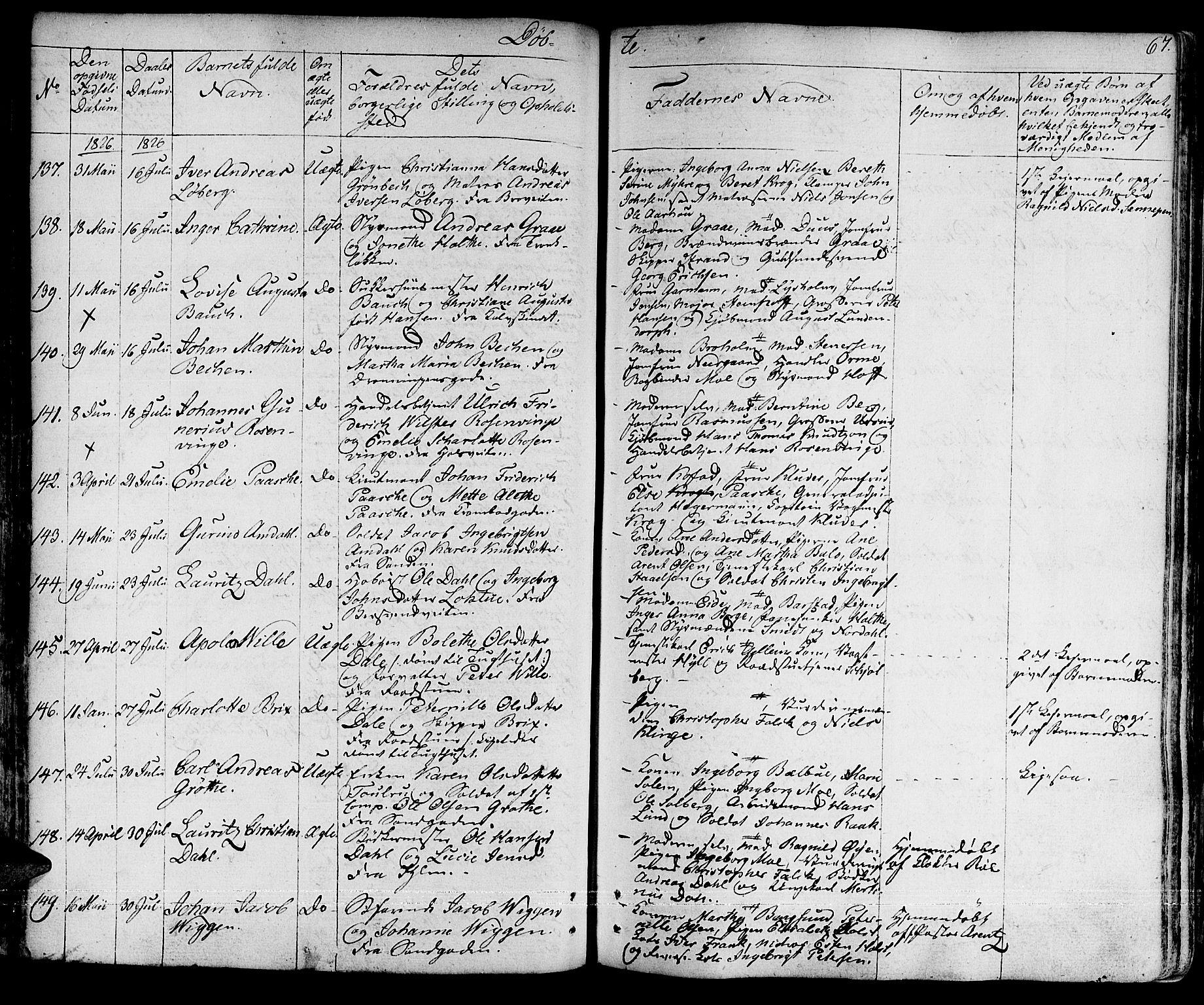 SAT, Ministerialprotokoller, klokkerbøker og fødselsregistre - Sør-Trøndelag, 601/L0045: Ministerialbok nr. 601A13, 1821-1831, s. 67
