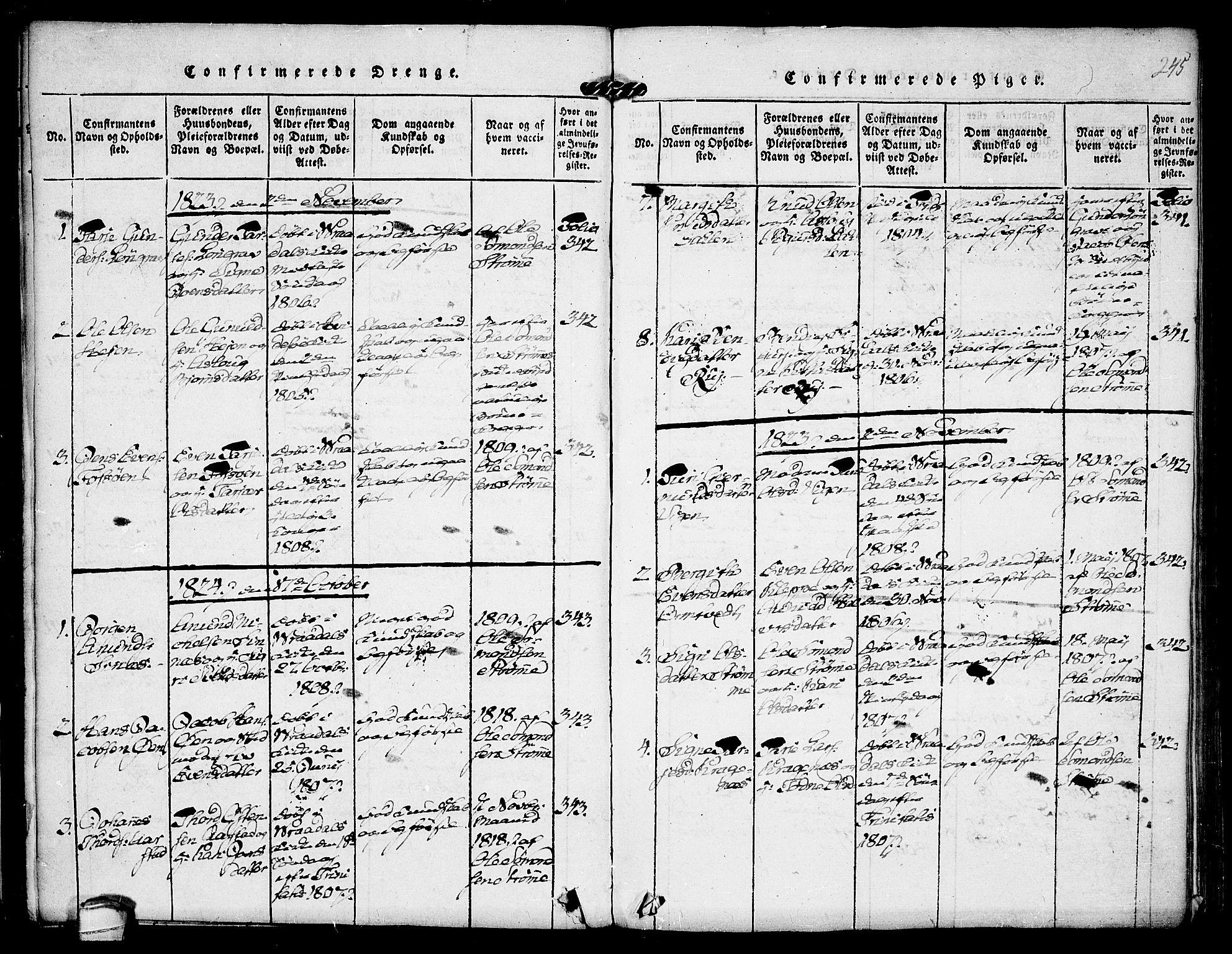 SAKO, Kviteseid kirkebøker, F/Fc/L0001: Ministerialbok nr. III 1, 1815-1836, s. 245