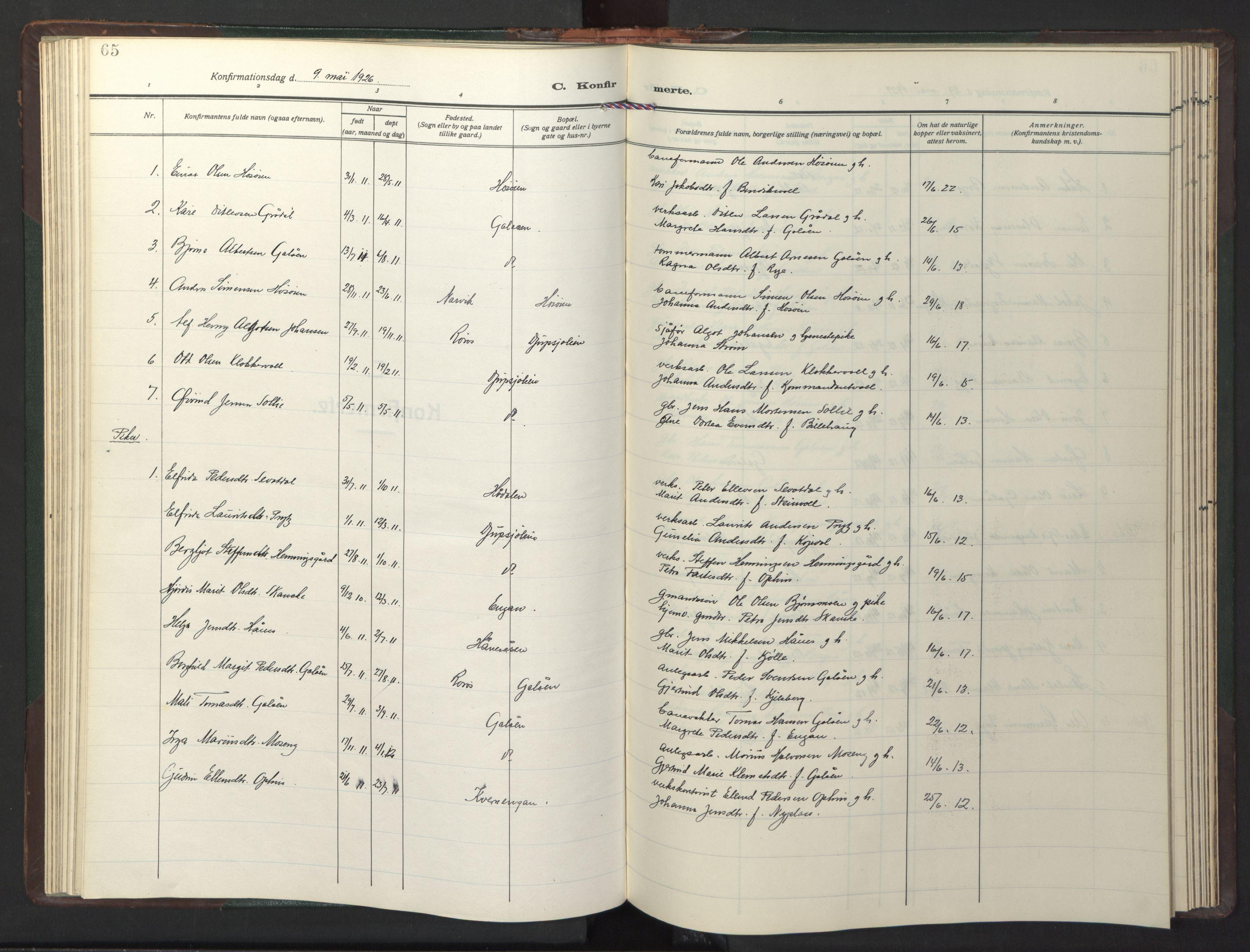 SAT, Ministerialprotokoller, klokkerbøker og fødselsregistre - Sør-Trøndelag, 681/L0944: Klokkerbok nr. 681C08, 1926-1954, s. 65