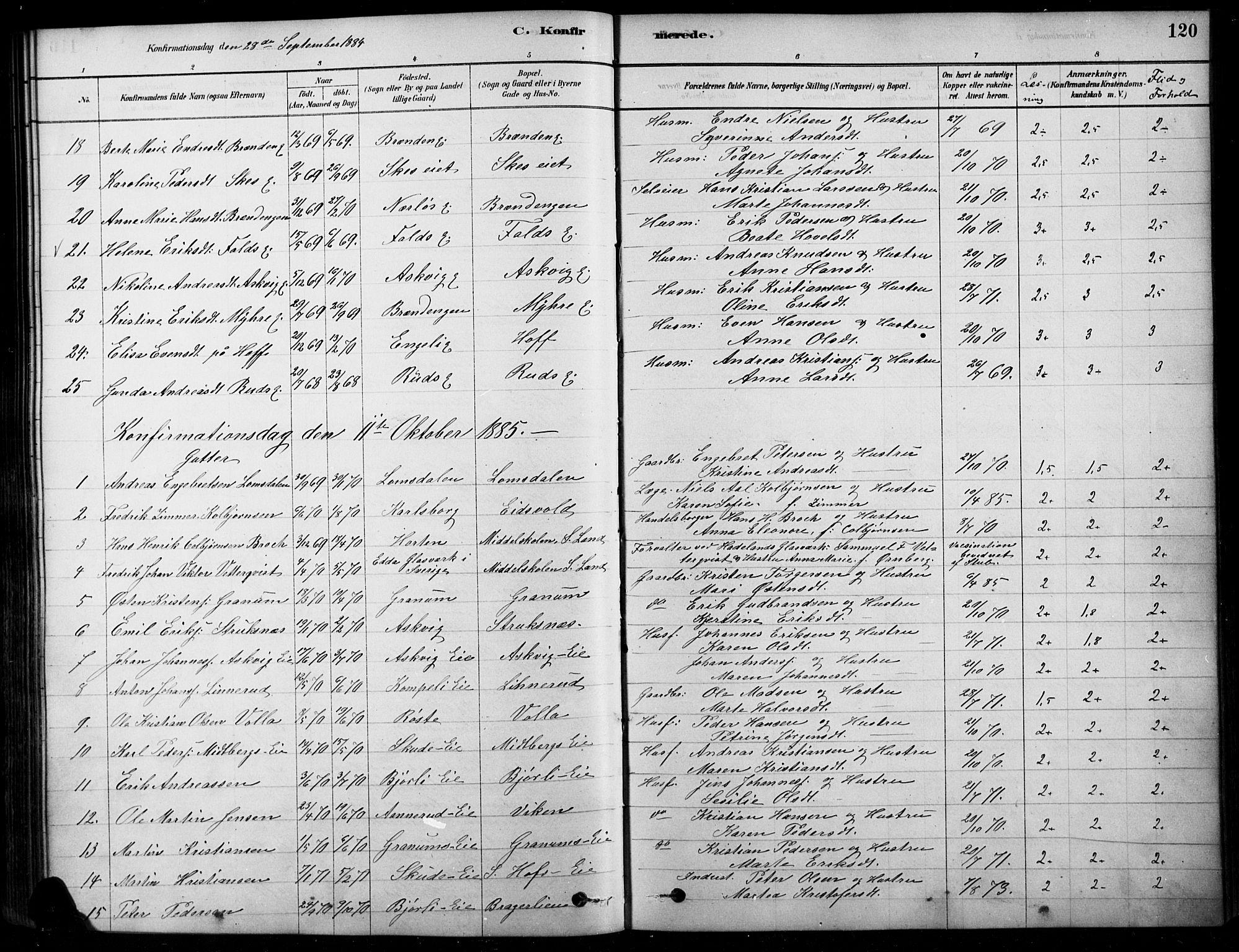 SAH, Søndre Land prestekontor, K/L0003: Ministerialbok nr. 3, 1878-1894, s. 120