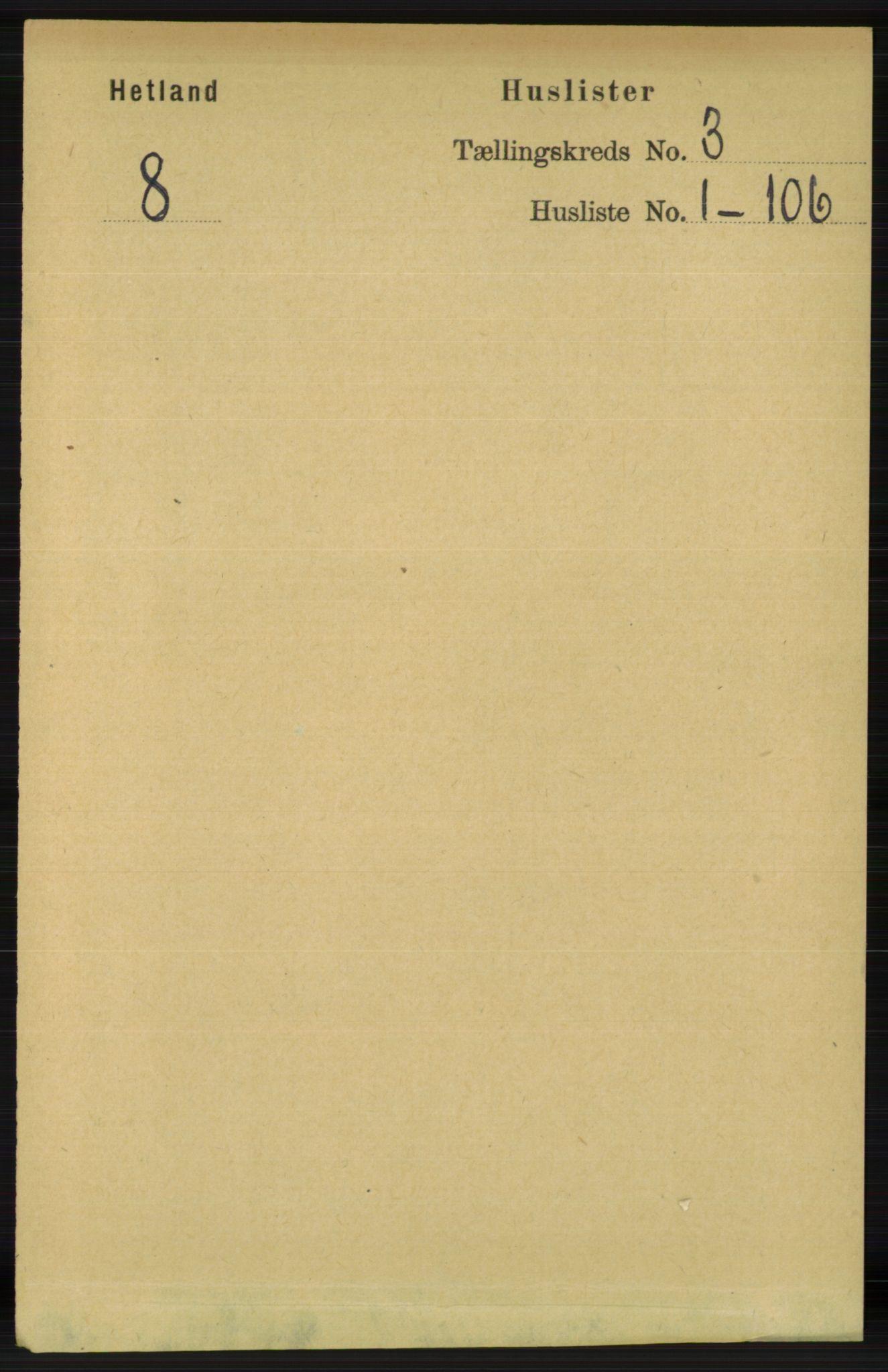 RA, Folketelling 1891 for 1126 Hetland herred, 1891, s. 1030