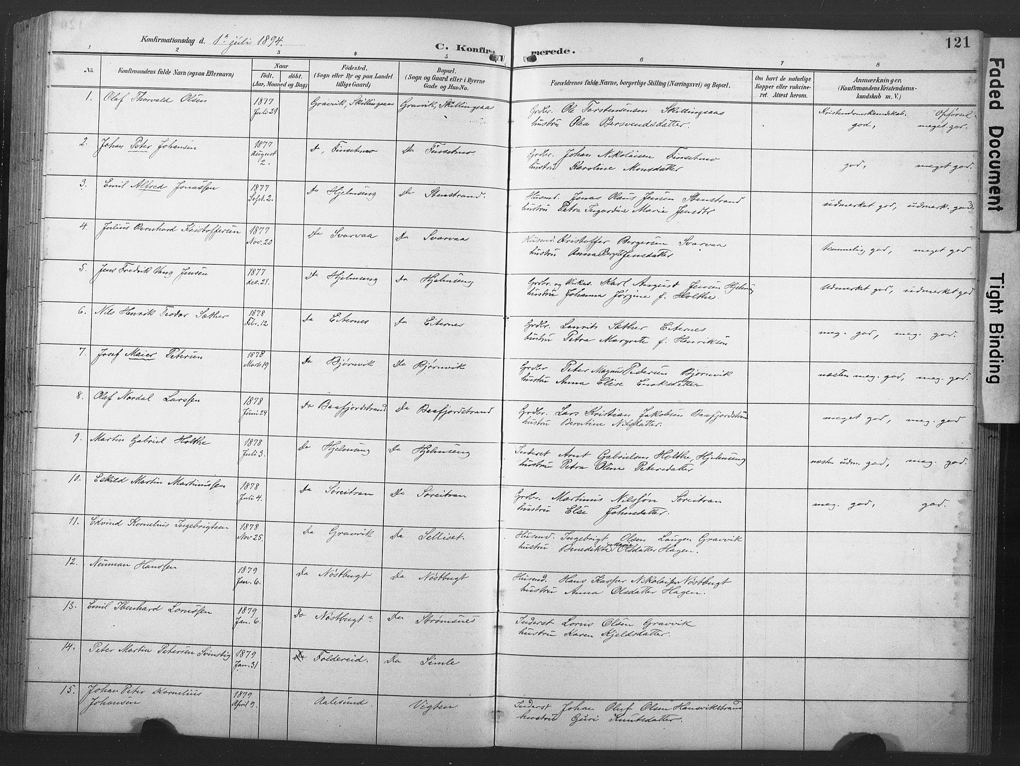 SAT, Ministerialprotokoller, klokkerbøker og fødselsregistre - Nord-Trøndelag, 789/L0706: Klokkerbok nr. 789C01, 1888-1931, s. 121