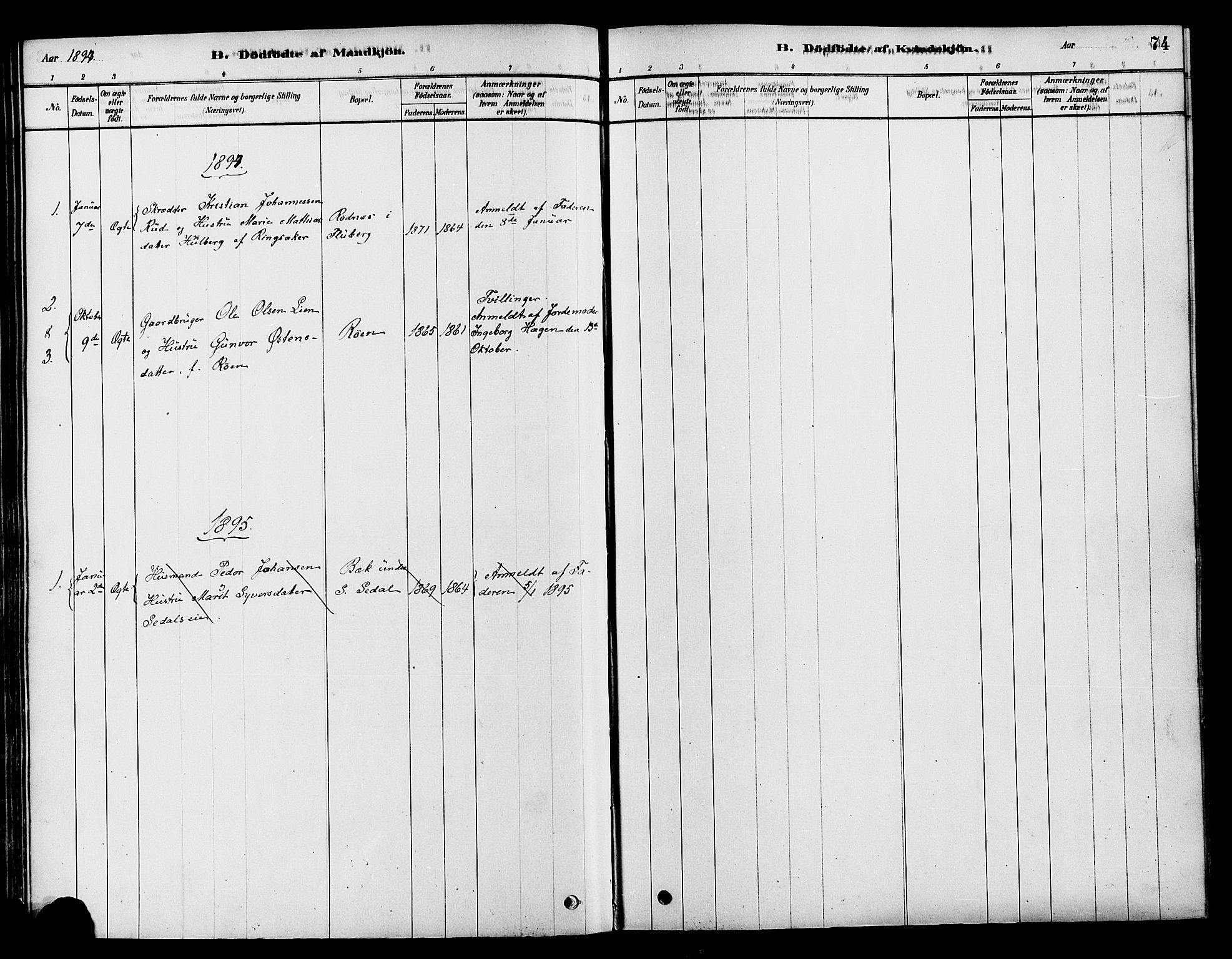 SAH, Søndre Land prestekontor, K/L0002: Ministerialbok nr. 2, 1878-1894, s. 74