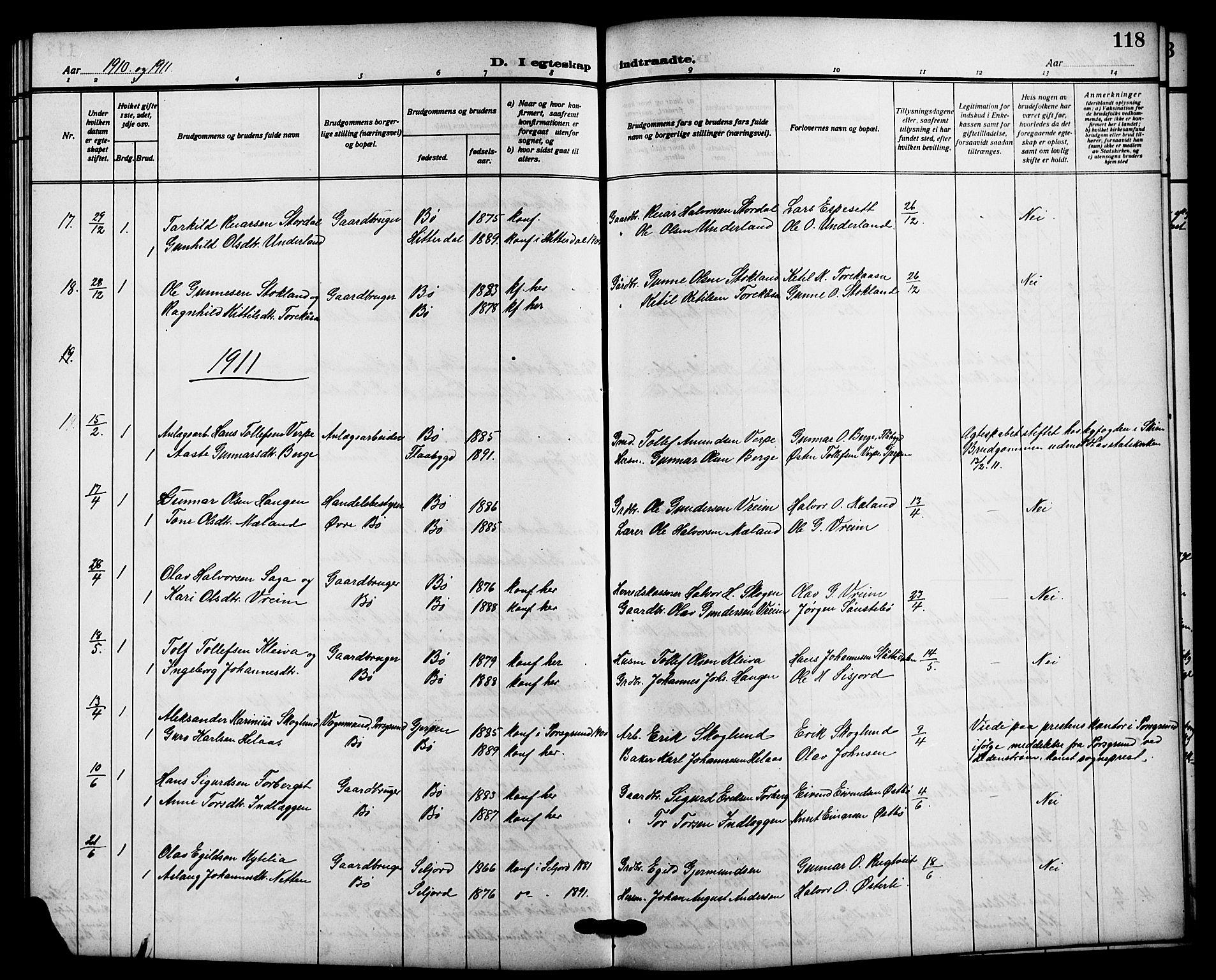 SAKO, Bø kirkebøker, G/Ga/L0007: Klokkerbok nr. 7, 1909-1924, s. 118