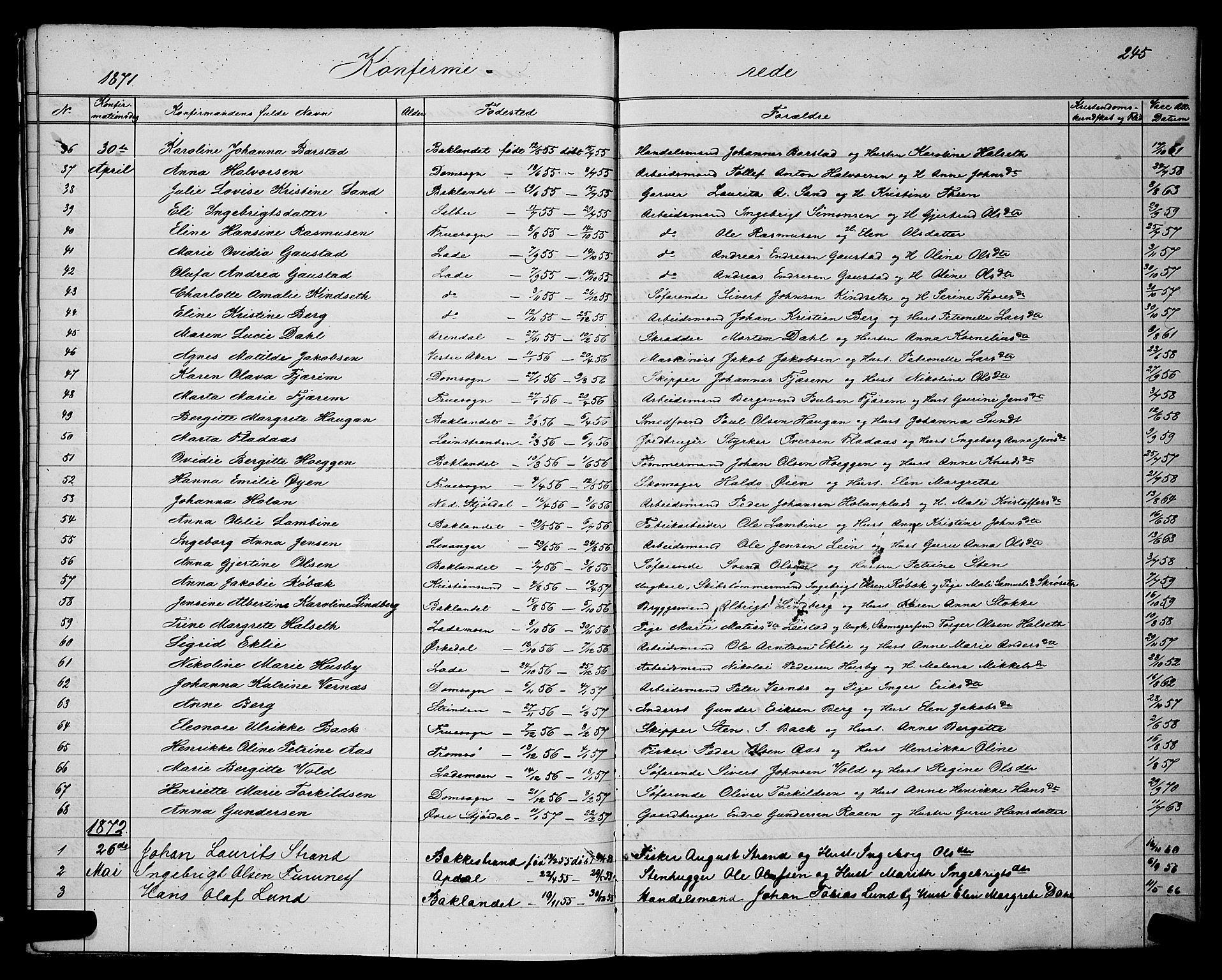 SAT, Ministerialprotokoller, klokkerbøker og fødselsregistre - Sør-Trøndelag, 604/L0220: Klokkerbok nr. 604C03, 1870-1885, s. 245