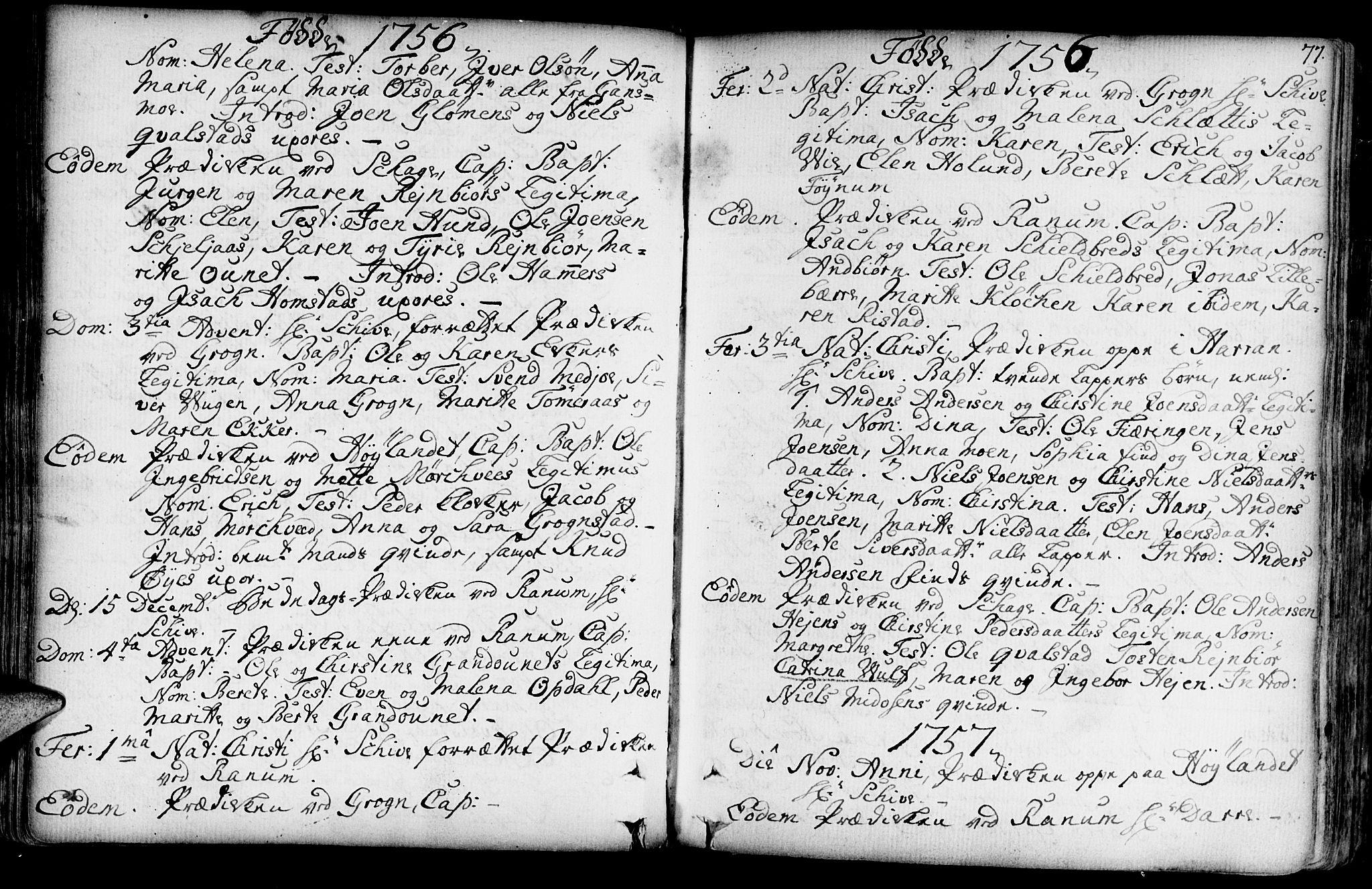 SAT, Ministerialprotokoller, klokkerbøker og fødselsregistre - Nord-Trøndelag, 764/L0542: Ministerialbok nr. 764A02, 1748-1779, s. 77
