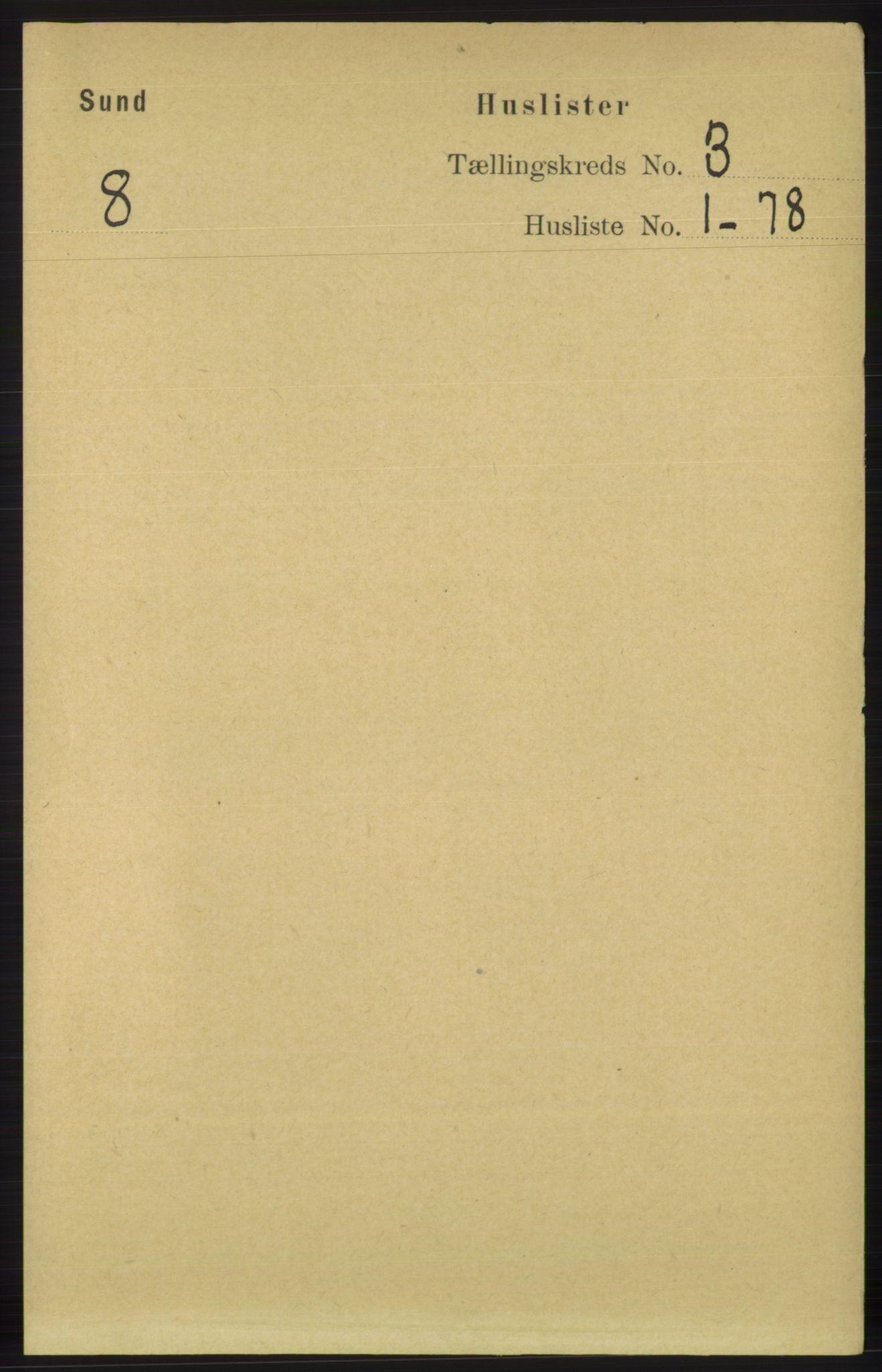 RA, Folketelling 1891 for 1245 Sund herred, 1891, s. 1129