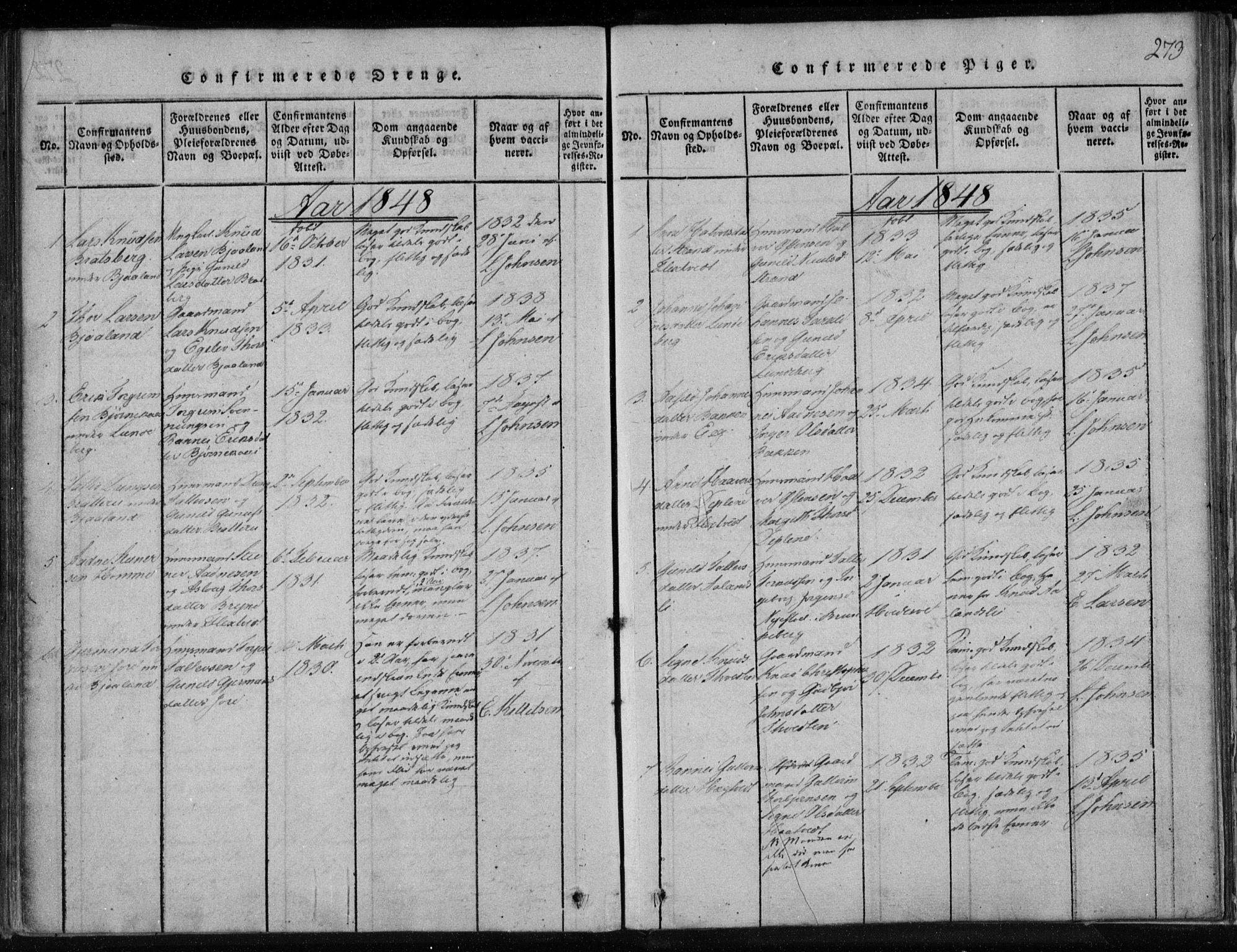 SAKO, Lårdal kirkebøker, F/Fa/L0005: Ministerialbok nr. I 5, 1815-1860, s. 273