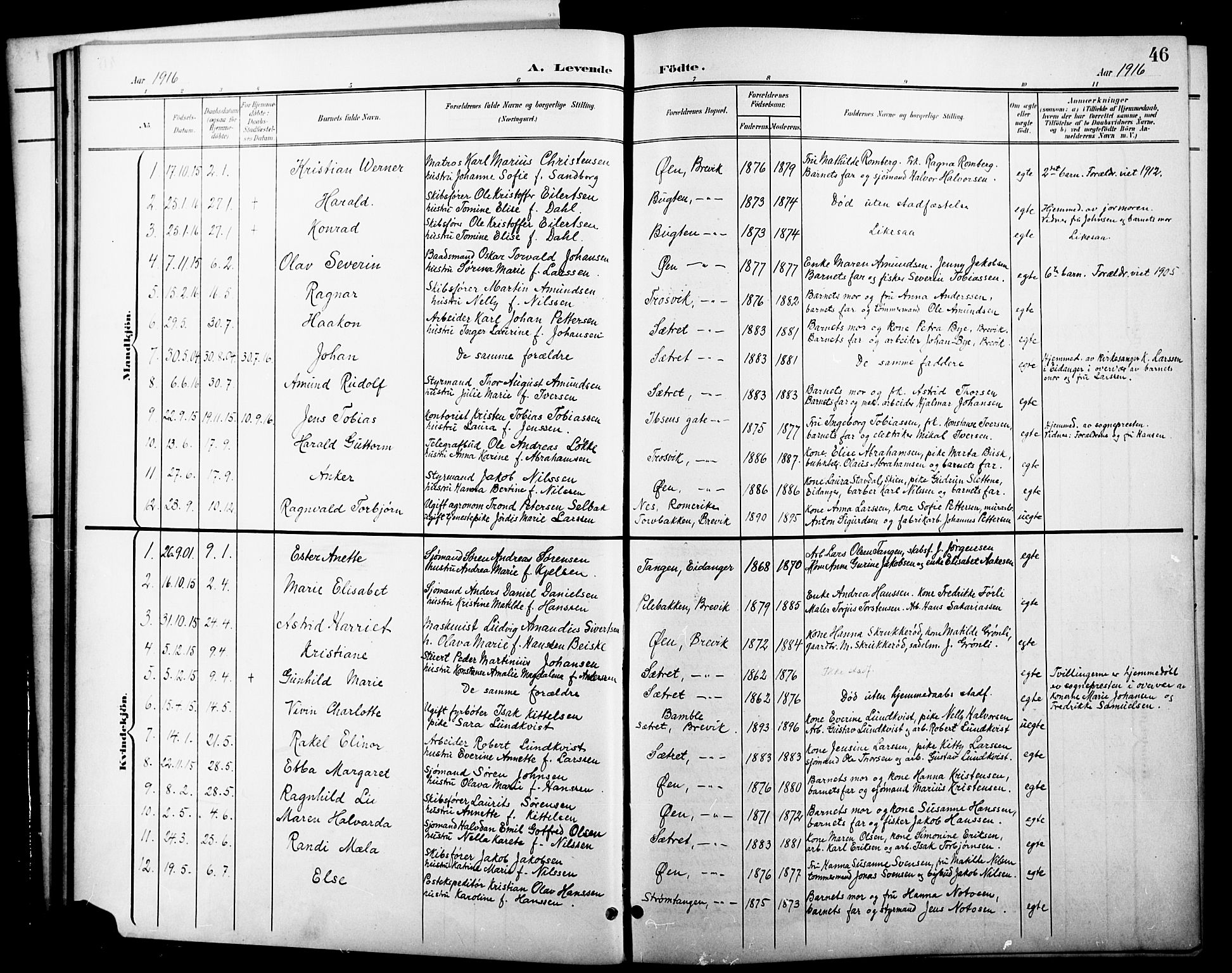 SAKO, Brevik kirkebøker, G/Ga/L0005: Klokkerbok nr. 5, 1901-1924, s. 46