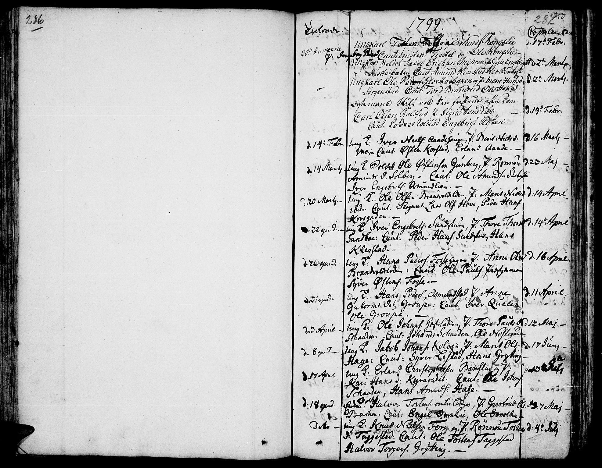 SAH, Fron prestekontor, H/Ha/Haa/L0001: Ministerialbok nr. 1, 1799-1816, s. 286-287