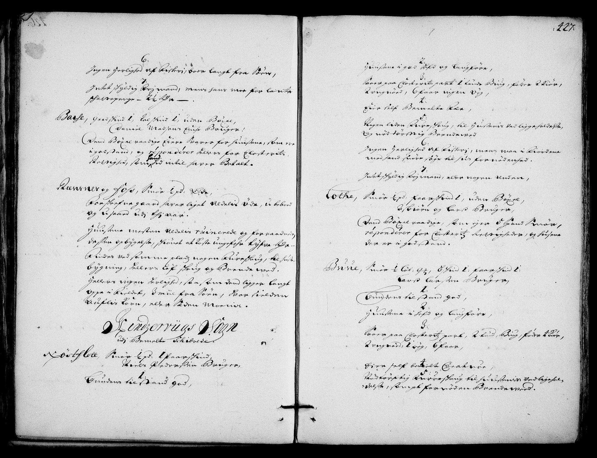 RA, Rentekammeret inntil 1814, Realistisk ordnet avdeling, On/L0002: [Jj 3]: Besiktigelsesforretninger over Halsnøy klosters gods, 1659-1703, s. 426b-427a