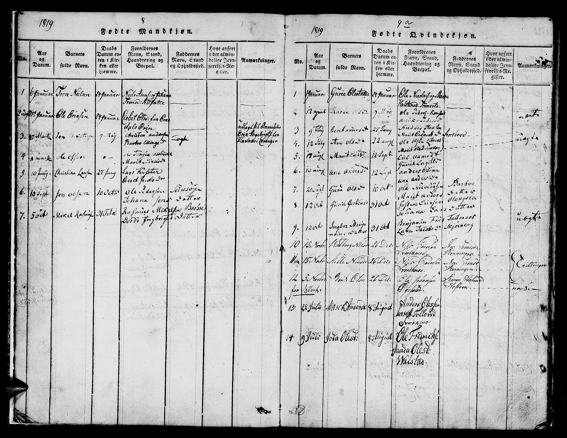 SAT, Ministerialprotokoller, klokkerbøker og fødselsregistre - Sør-Trøndelag, 671/L0842: Klokkerbok nr. 671C01, 1816-1867, s. 8a-9a