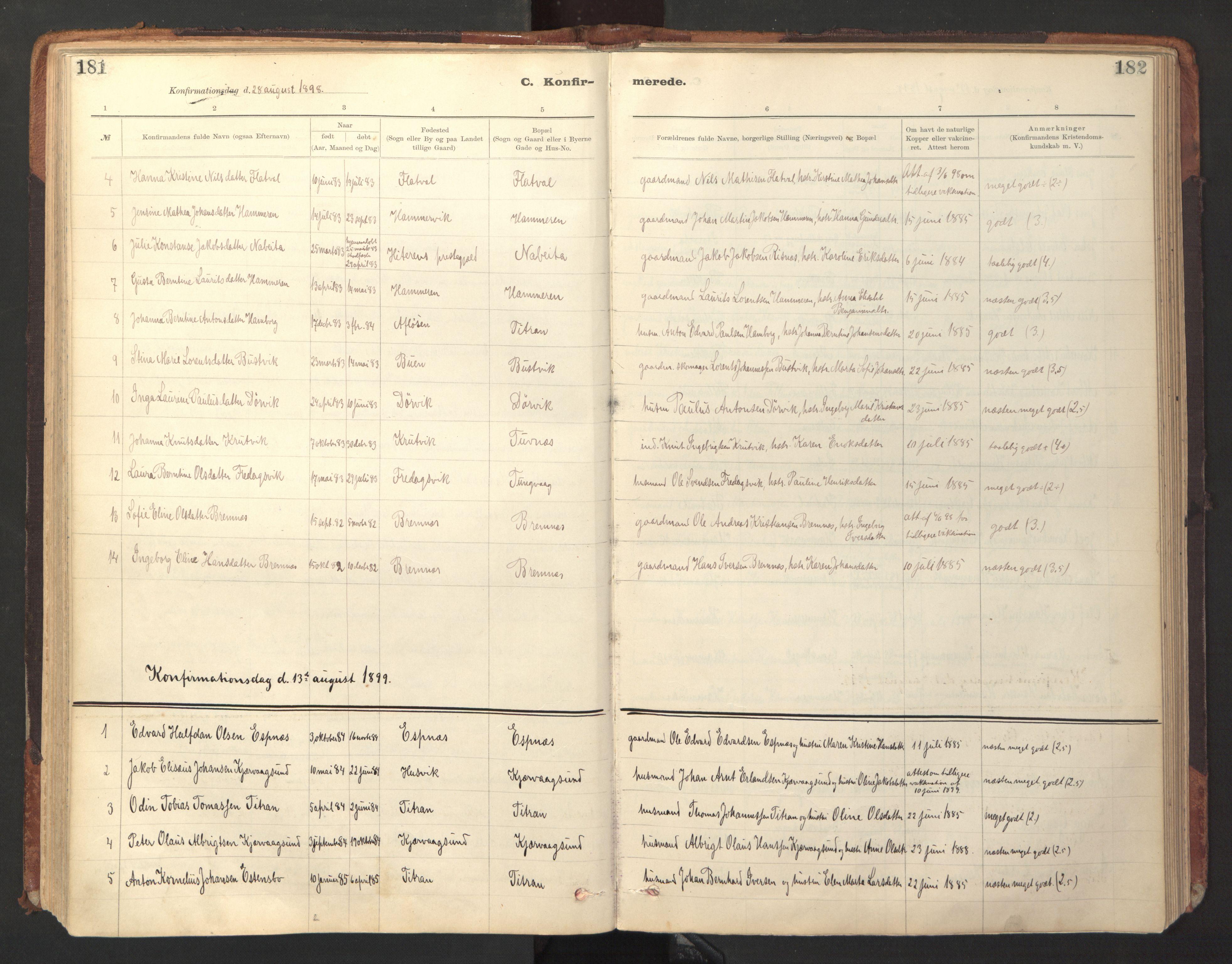 SAT, Ministerialprotokoller, klokkerbøker og fødselsregistre - Sør-Trøndelag, 641/L0596: Ministerialbok nr. 641A02, 1898-1915, s. 181-182