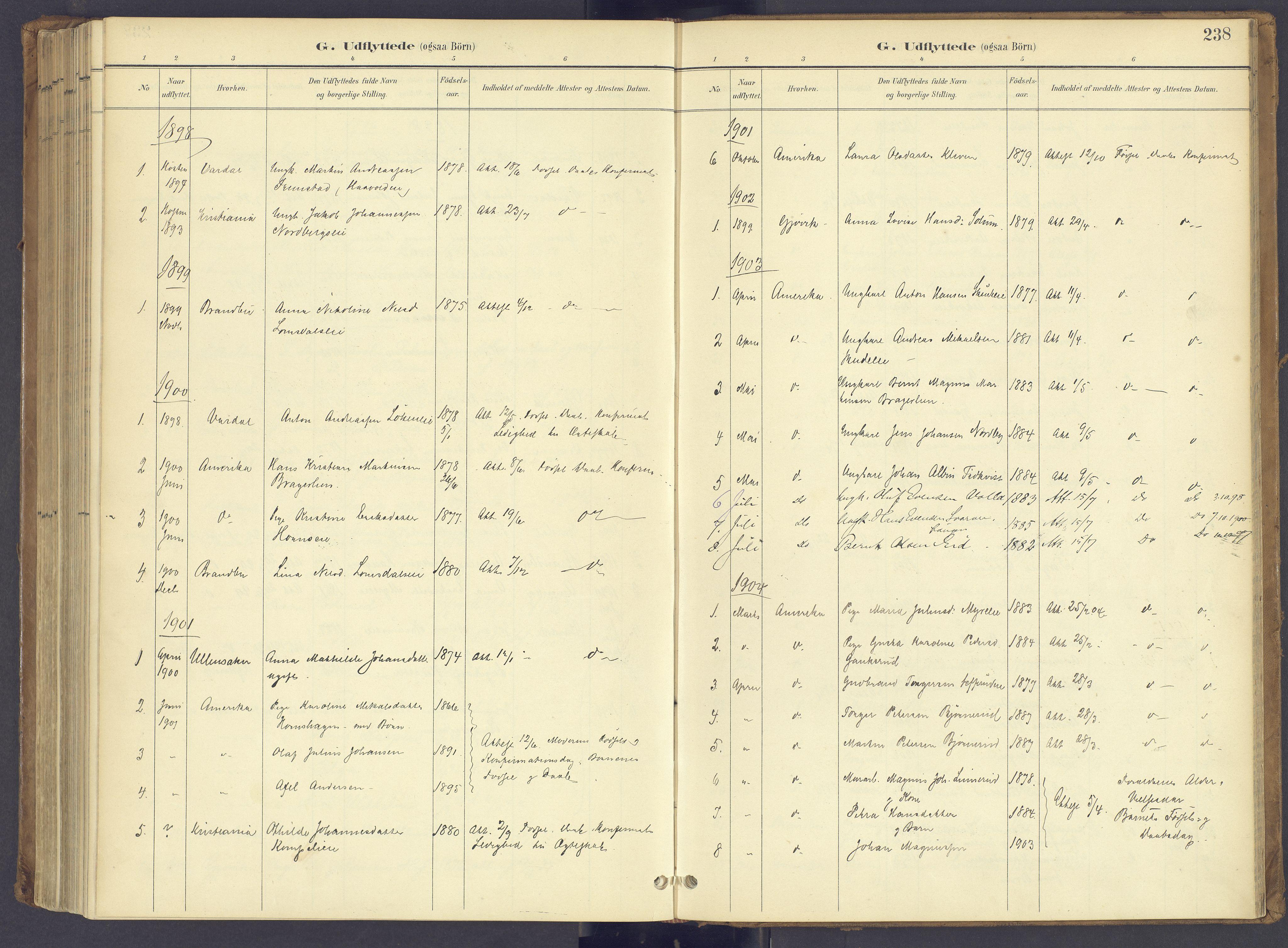 SAH, Søndre Land prestekontor, K/L0006: Ministerialbok nr. 6, 1895-1904, s. 238