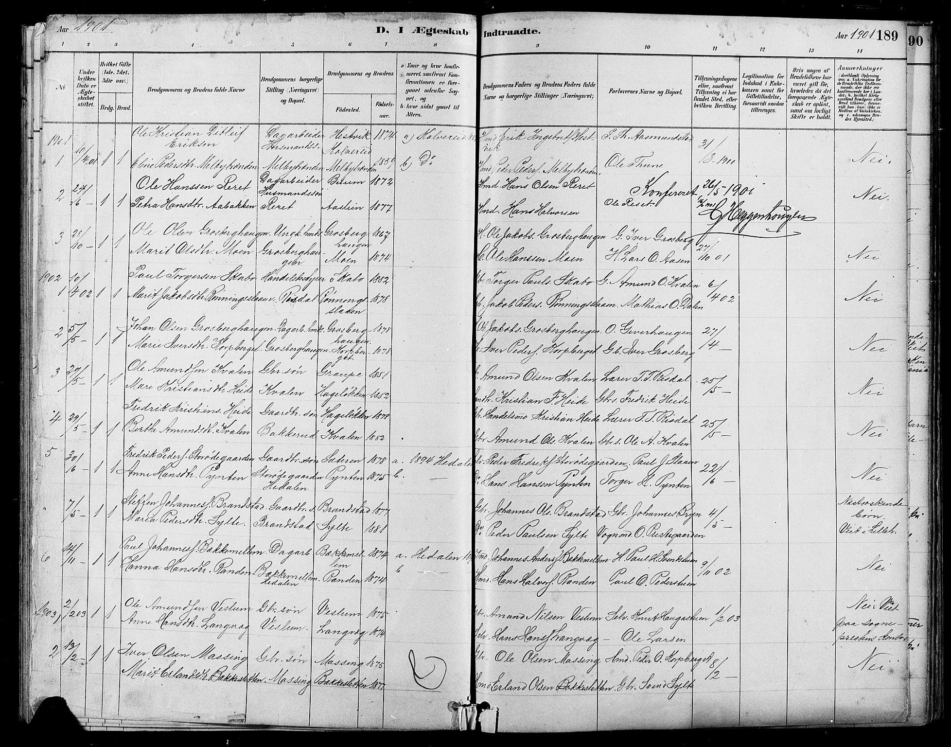 SAH, Nord-Fron prestekontor, Klokkerbok nr. 5, 1884-1914, s. 189