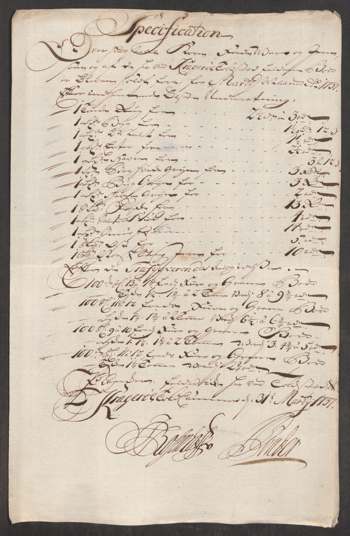 RA, Rentekammeret inntil 1814, Realistisk ordnet avdeling, Oe/L0001: [Ø1]: Priskuranter, 1712-1739, s. 586