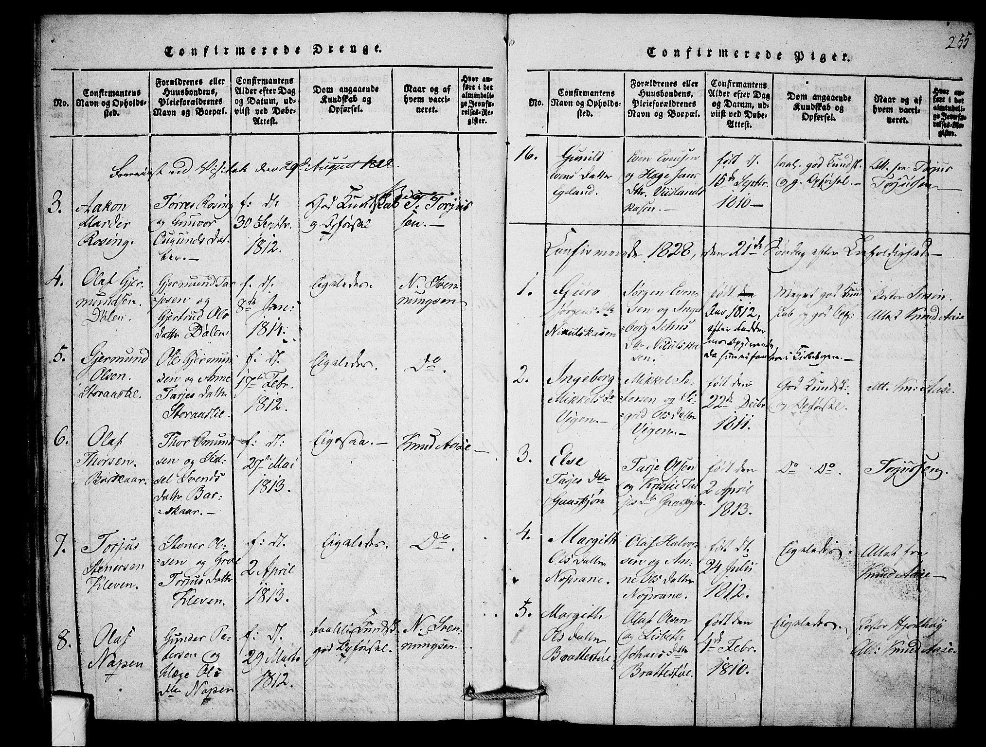 SAKO, Mo kirkebøker, F/Fb/L0001: Ministerialbok nr. II 1, 1814-1844, s. 255