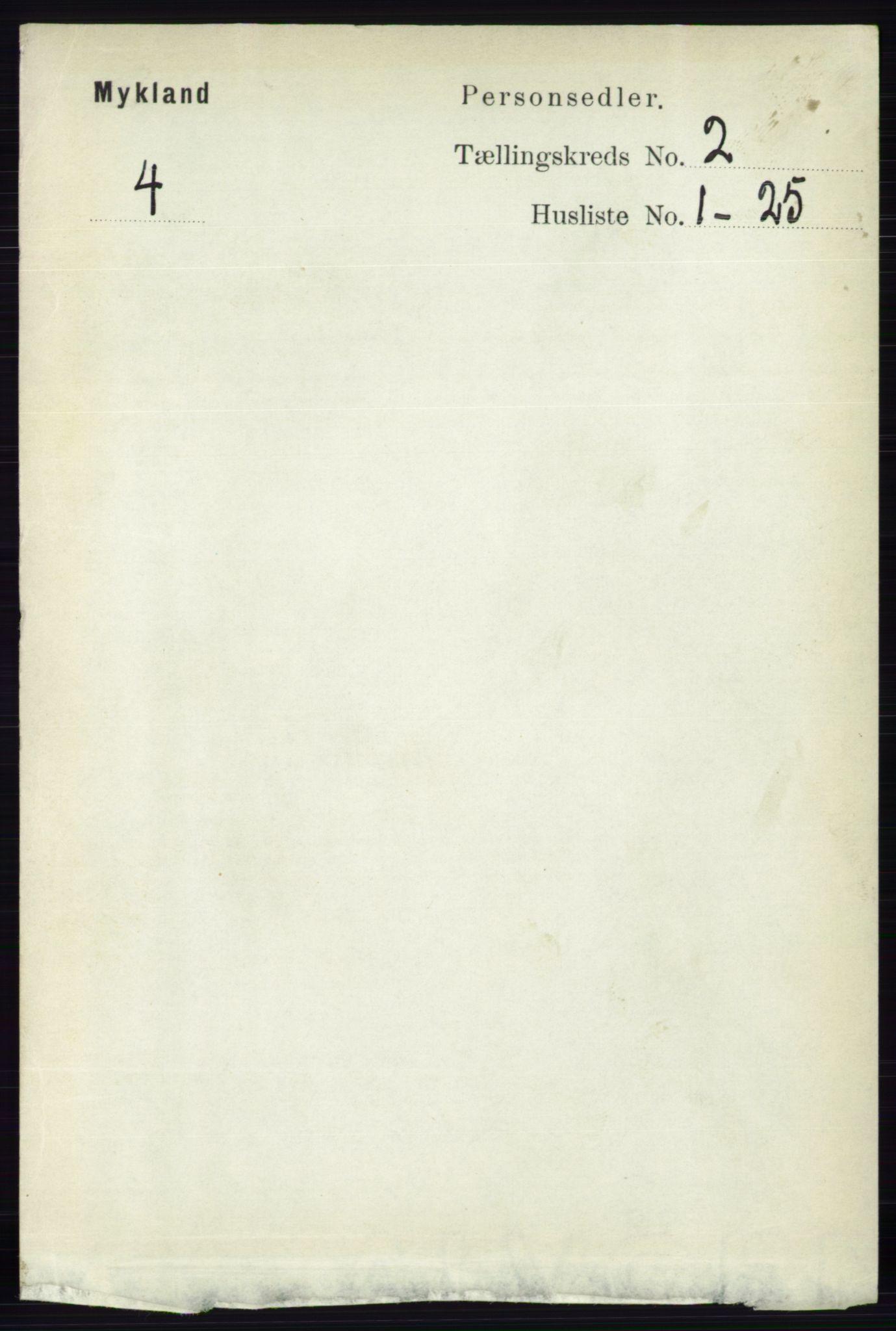 RA, Folketelling 1891 for 0932 Mykland herred, 1891, s. 302