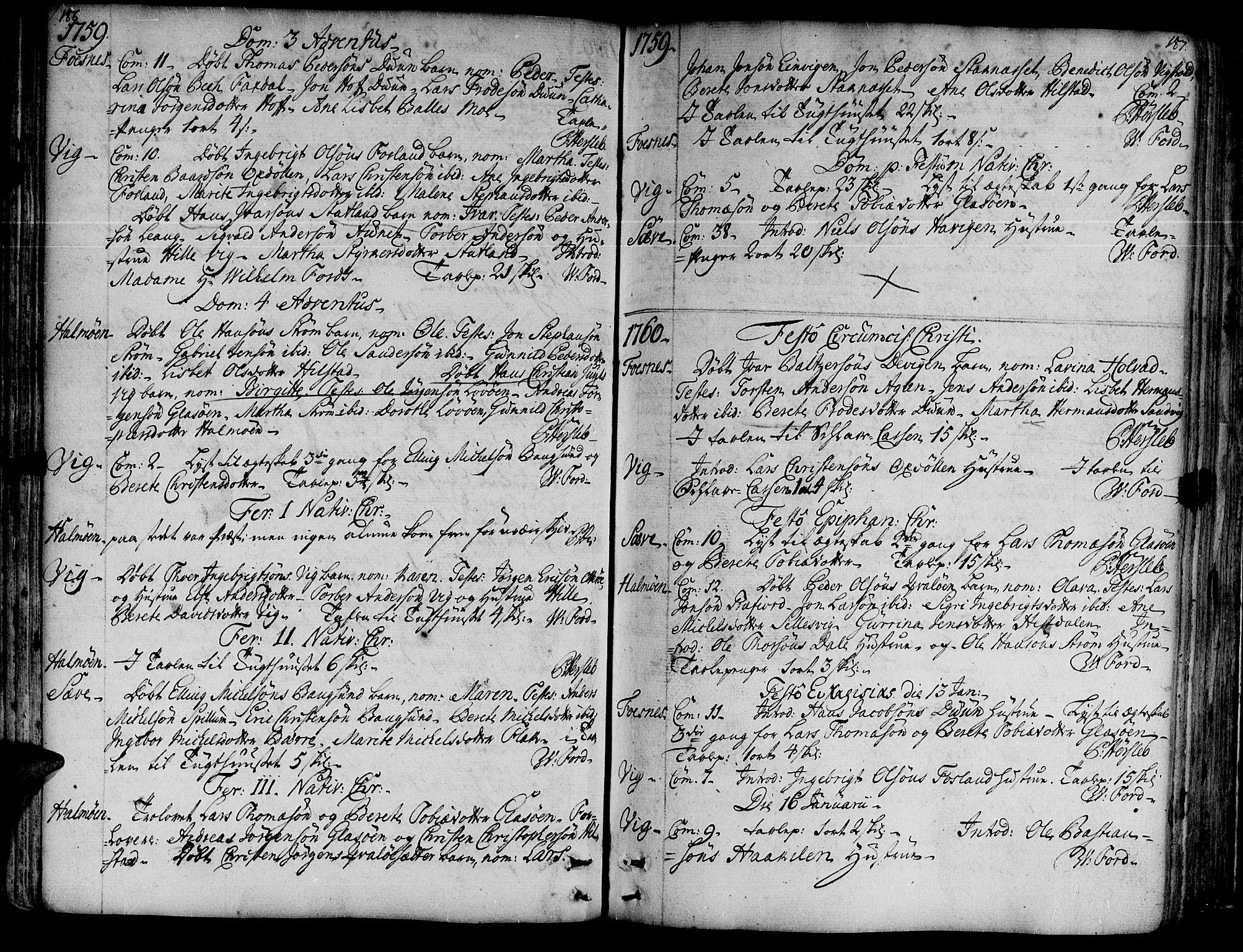 SAT, Ministerialprotokoller, klokkerbøker og fødselsregistre - Nord-Trøndelag, 773/L0607: Ministerialbok nr. 773A01, 1751-1783, s. 186-187