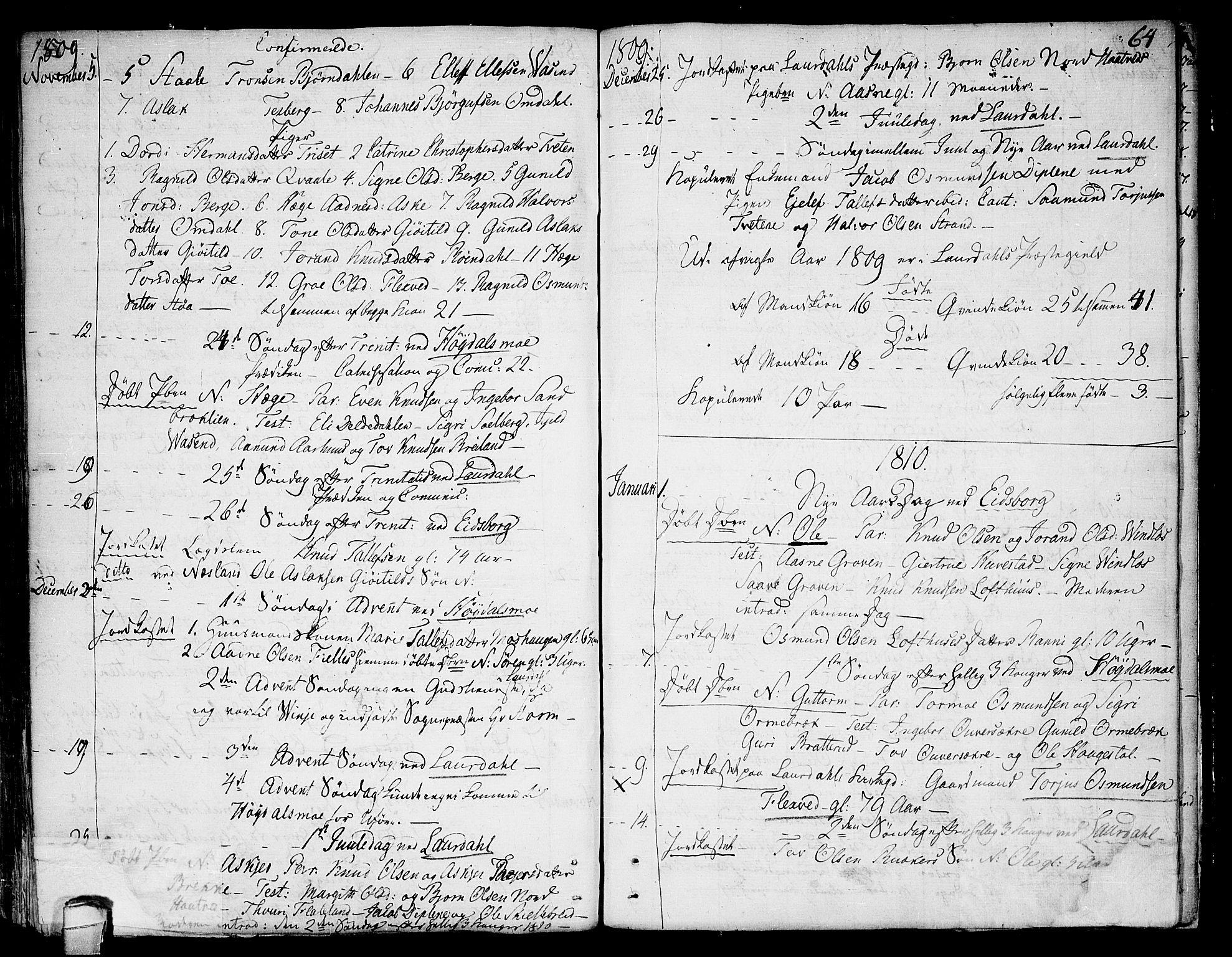 SAKO, Lårdal kirkebøker, F/Fa/L0004: Ministerialbok nr. I 4, 1790-1814, s. 64