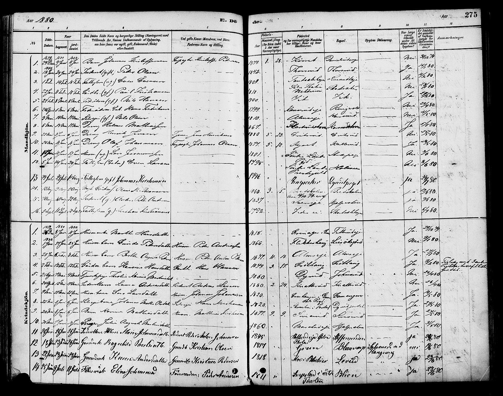 SAH, Vestre Toten prestekontor, H/Ha/Haa/L0009: Ministerialbok nr. 9, 1878-1894, s. 275