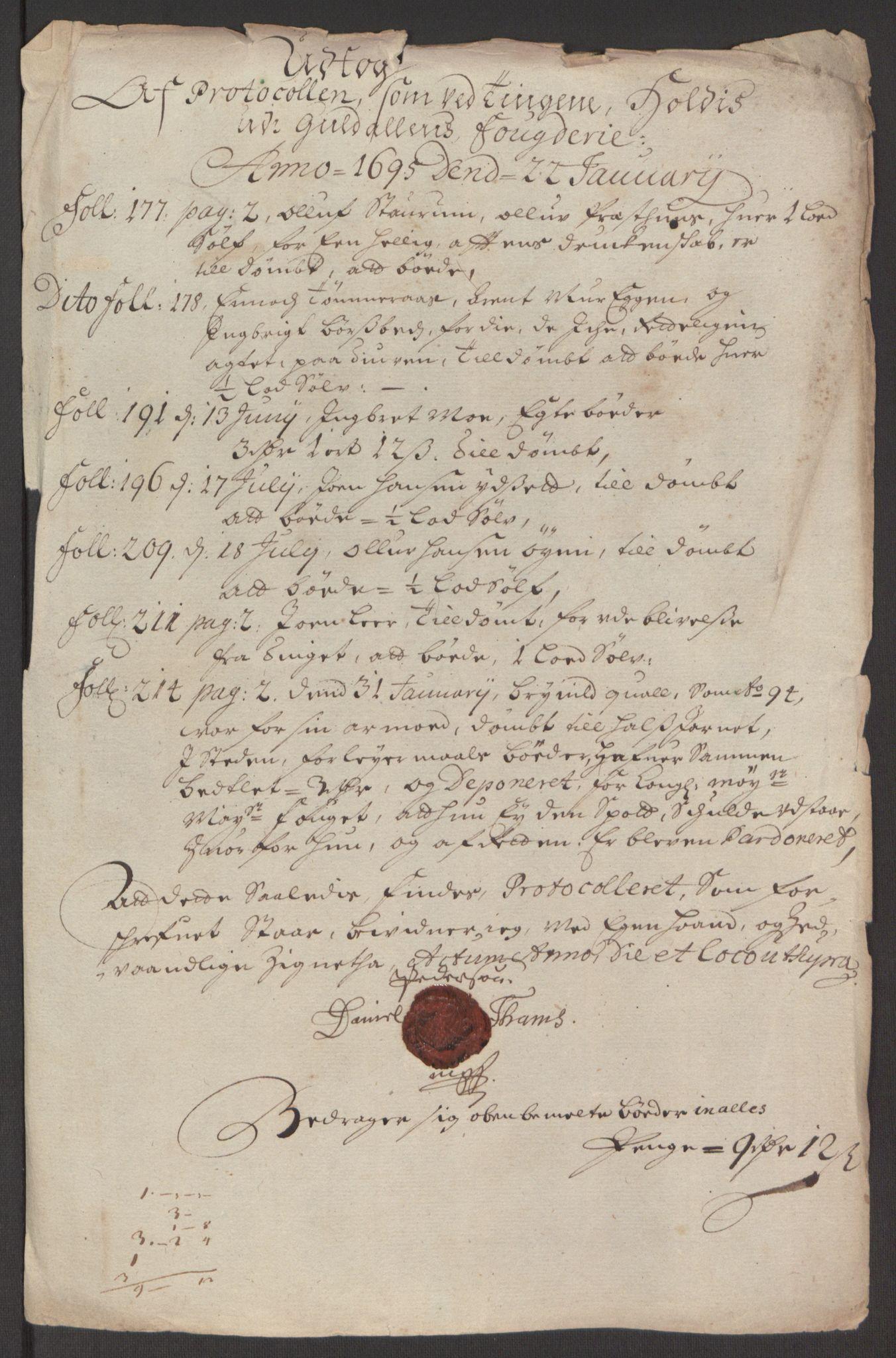 RA, Rentekammeret inntil 1814, Reviderte regnskaper, Fogderegnskap, R60/L3945: Fogderegnskap Orkdal og Gauldal, 1695, s. 395