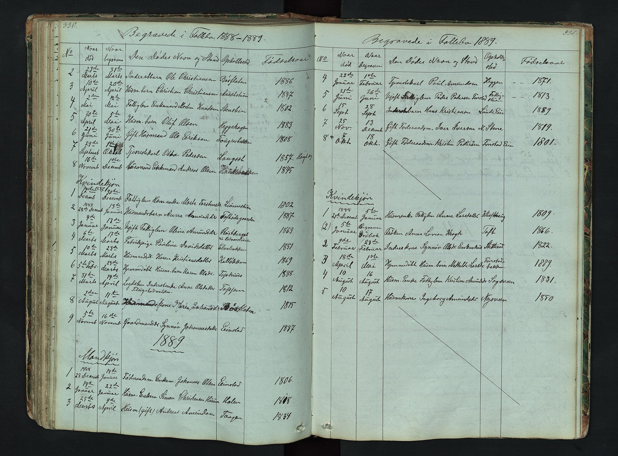 SAH, Gausdal prestekontor, Klokkerbok nr. 6, 1846-1893, s. 330-331