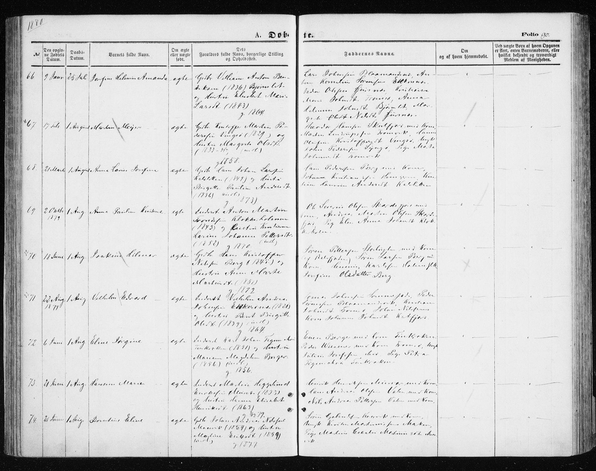 SATØ, Tromsøysund sokneprestkontor, G/Ga/L0003kirke: Ministerialbok nr. 3, 1875-1880, s. 90