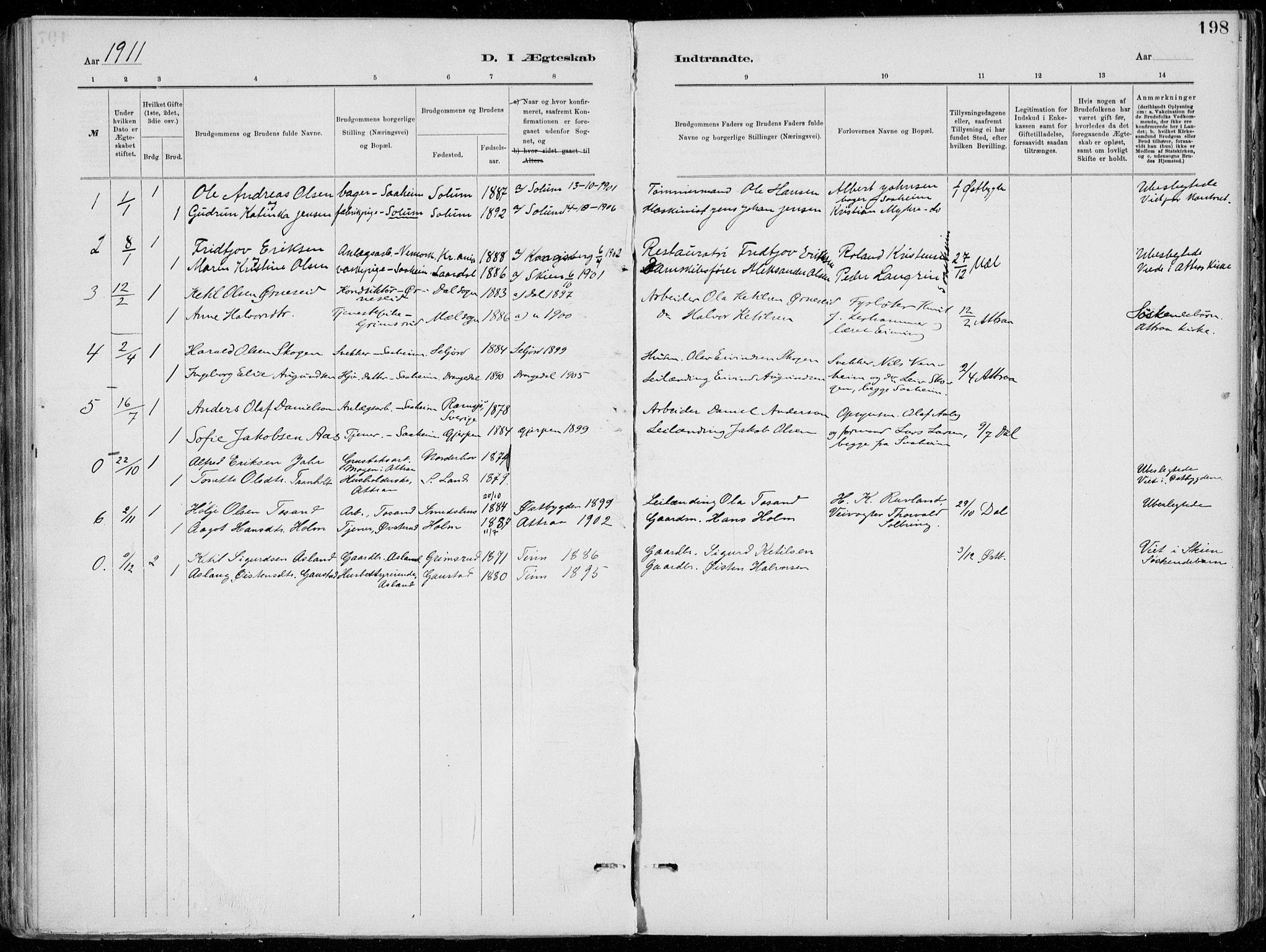 SAKO, Tinn kirkebøker, F/Fa/L0007: Ministerialbok nr. I 7, 1878-1922, s. 198