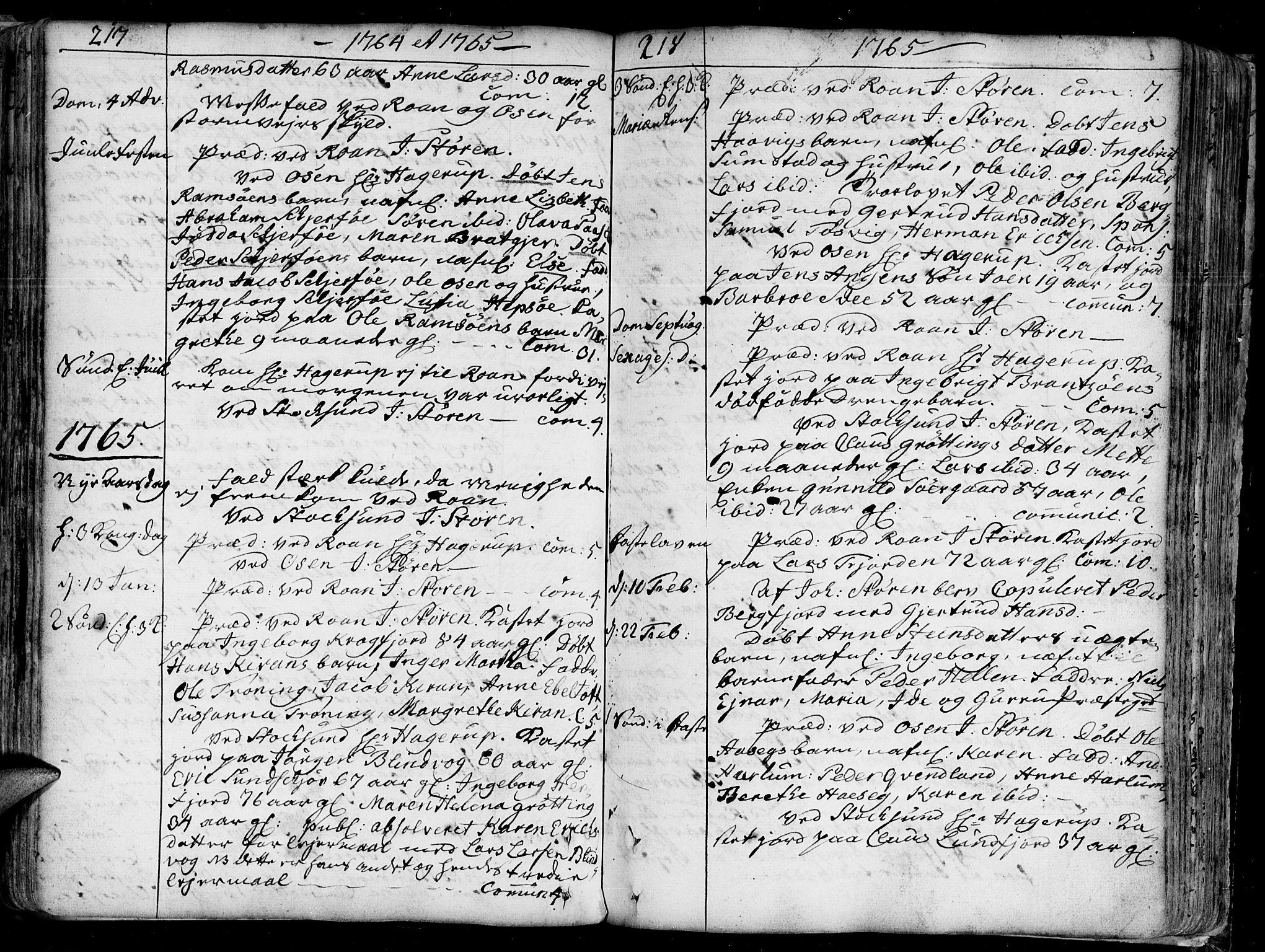 SAT, Ministerialprotokoller, klokkerbøker og fødselsregistre - Sør-Trøndelag, 657/L0700: Ministerialbok nr. 657A01, 1732-1801, s. 217-218
