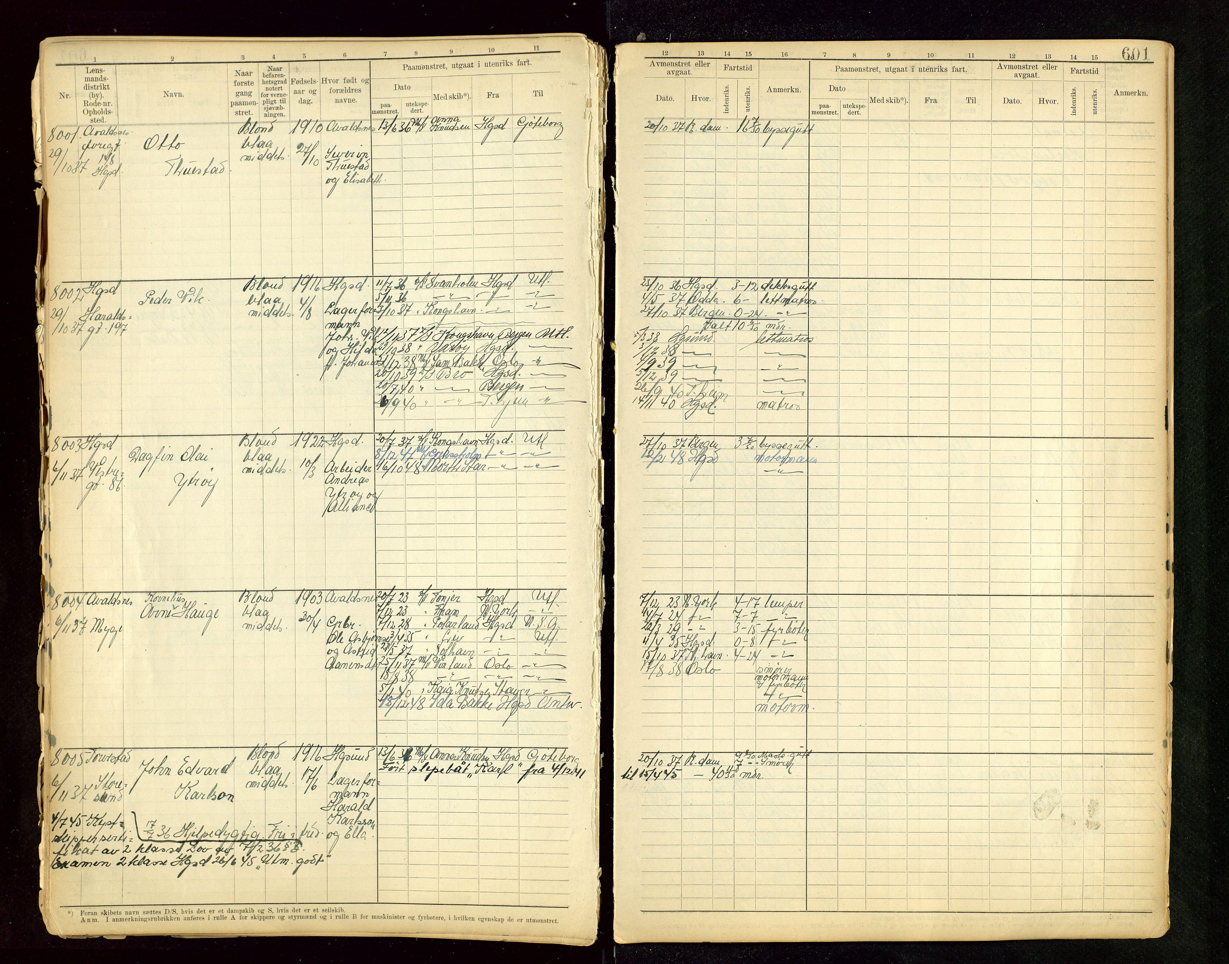 SAST, Haugesund sjømannskontor, F/Fb/Fbb/L0015: Sjøfartsrulle A Haugesund krets I nr 5001-8970, 1912-1948, s. 601